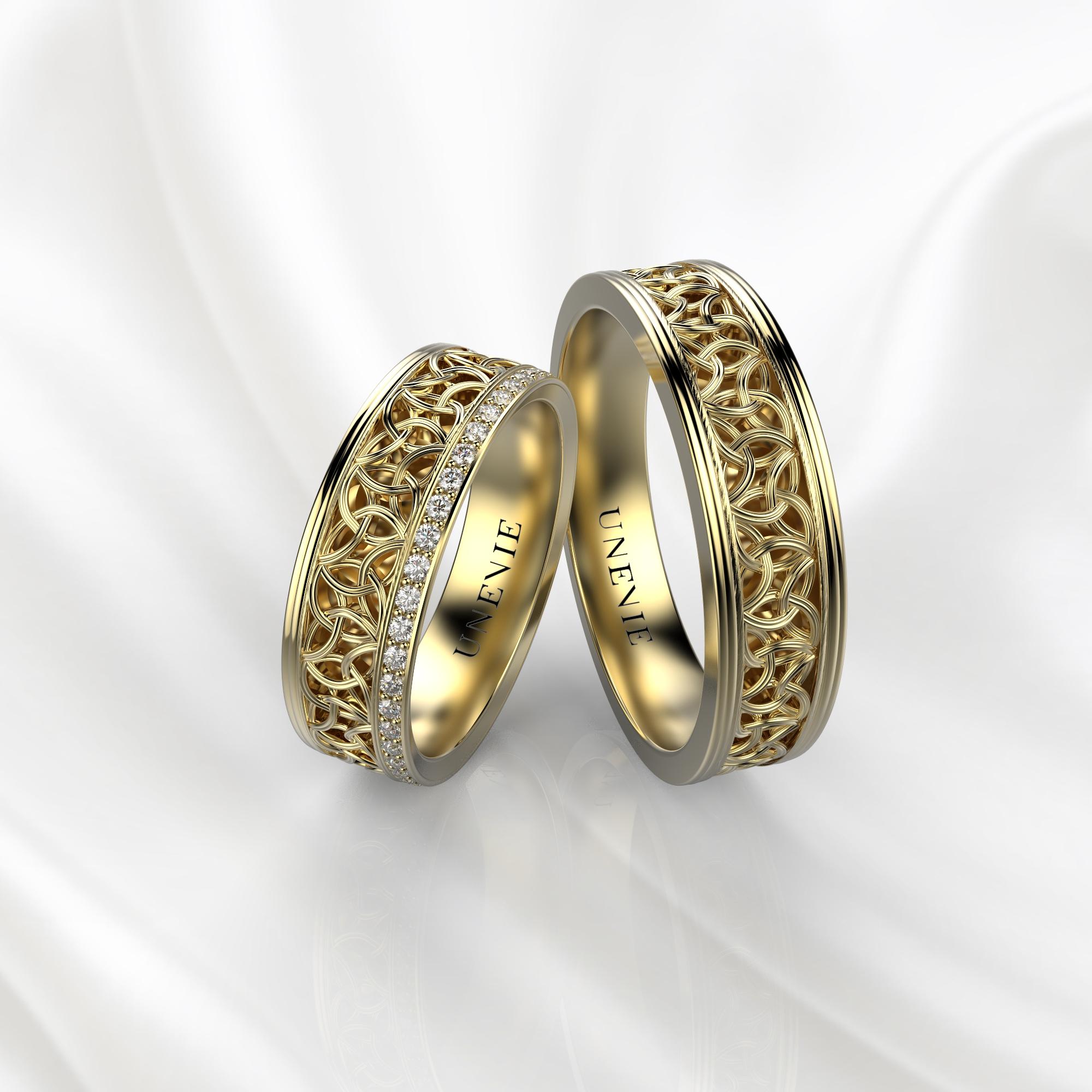 NV64 Парные обручальные кольца из желтого золота с бриллиантами