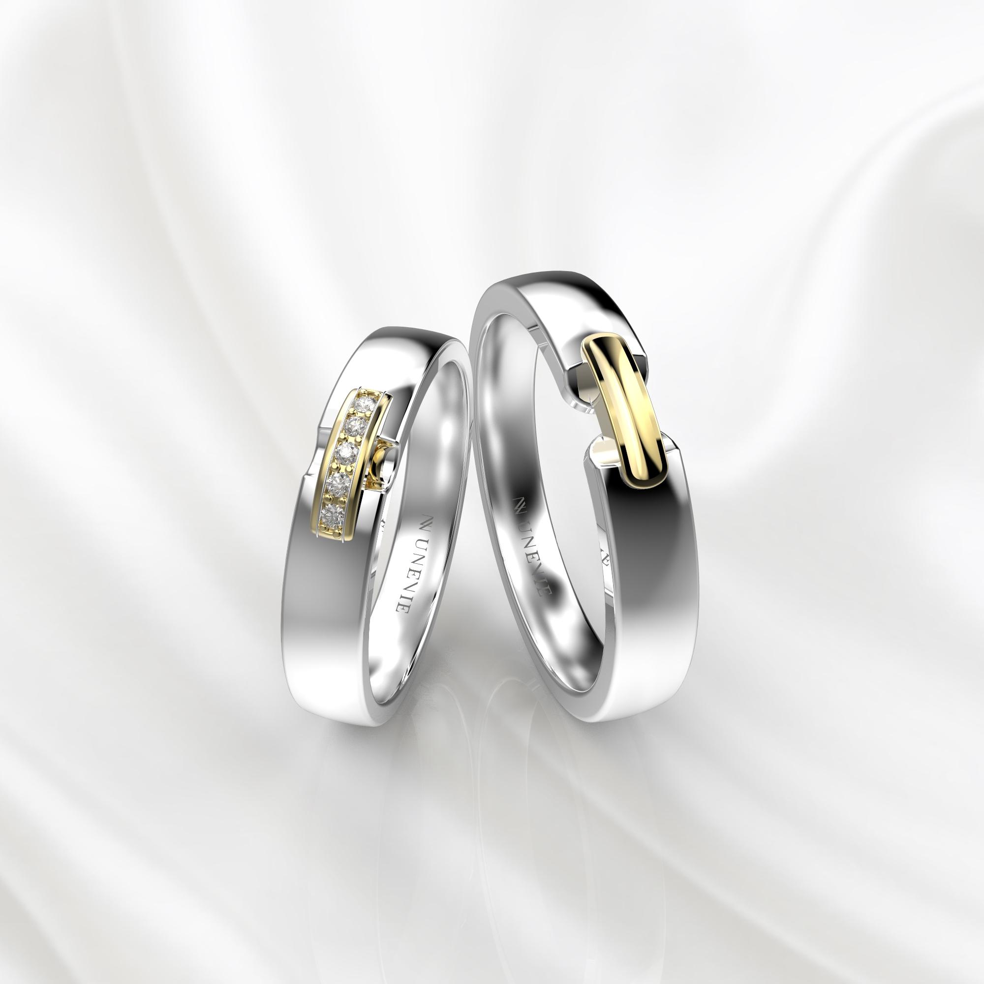NV65 Парные обручальные кольца из  бело-желтого золота с бриллиантами