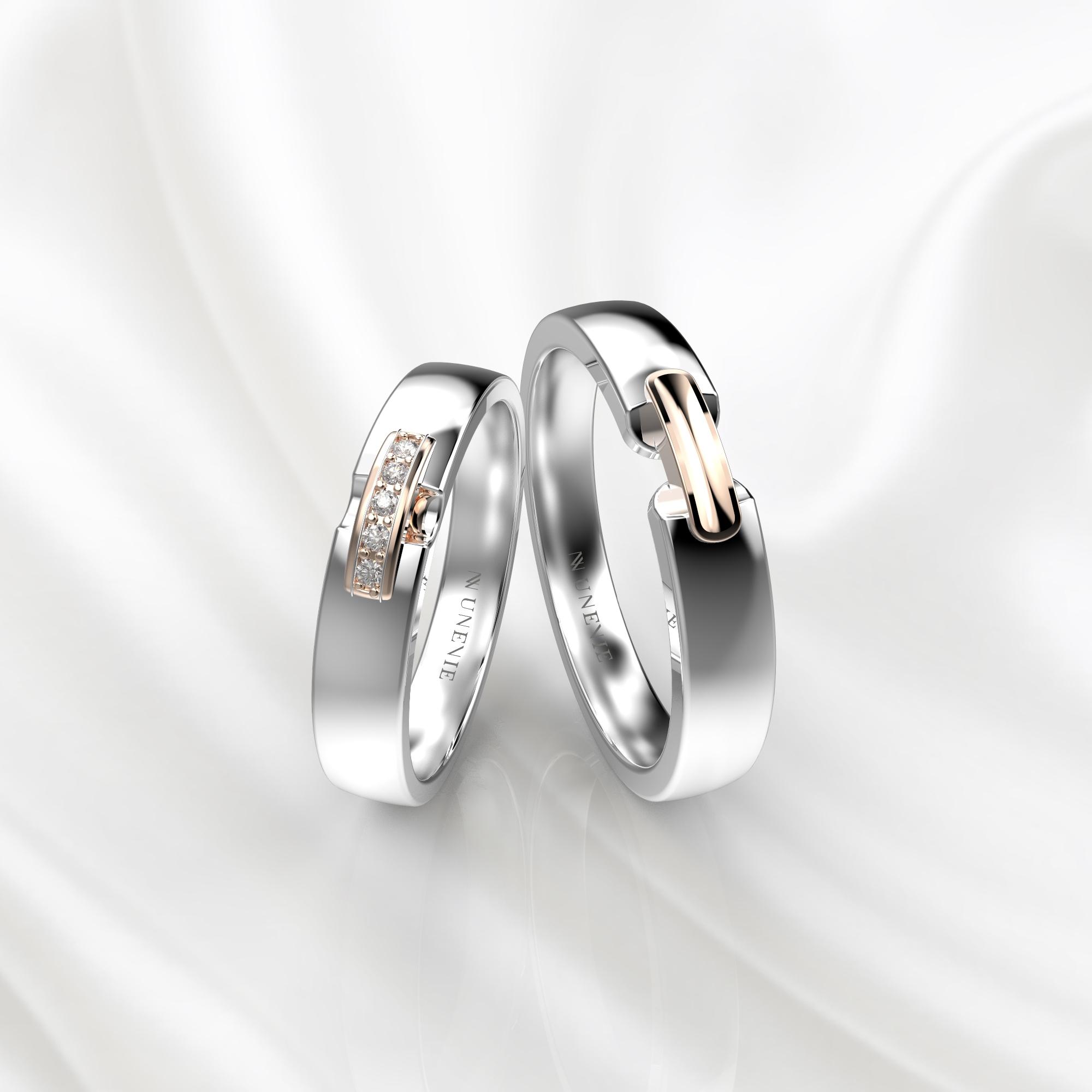 NV65 Парные обручальные кольца из бело-розового золота с бриллиантами