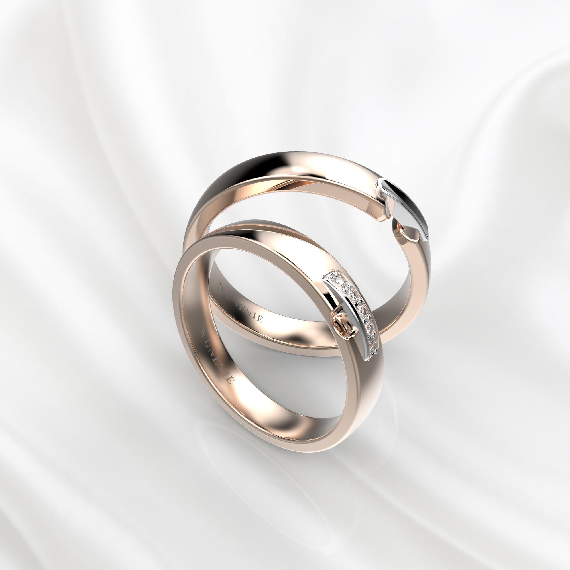 NV65 Парные обручальные кольца из розово-белого золота с бриллиантами