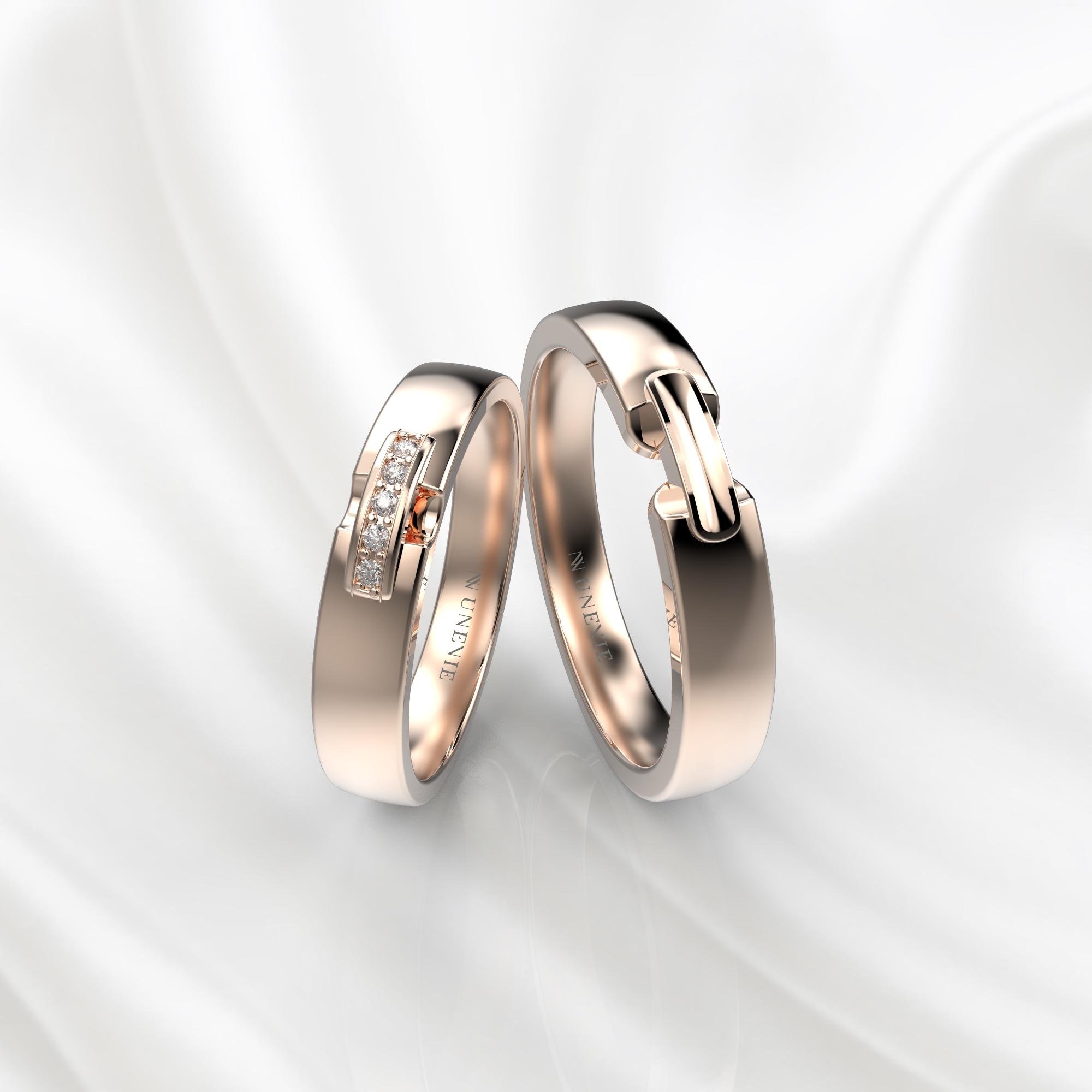 NV65 Парные обручальные кольца из розового золота с бриллиантами