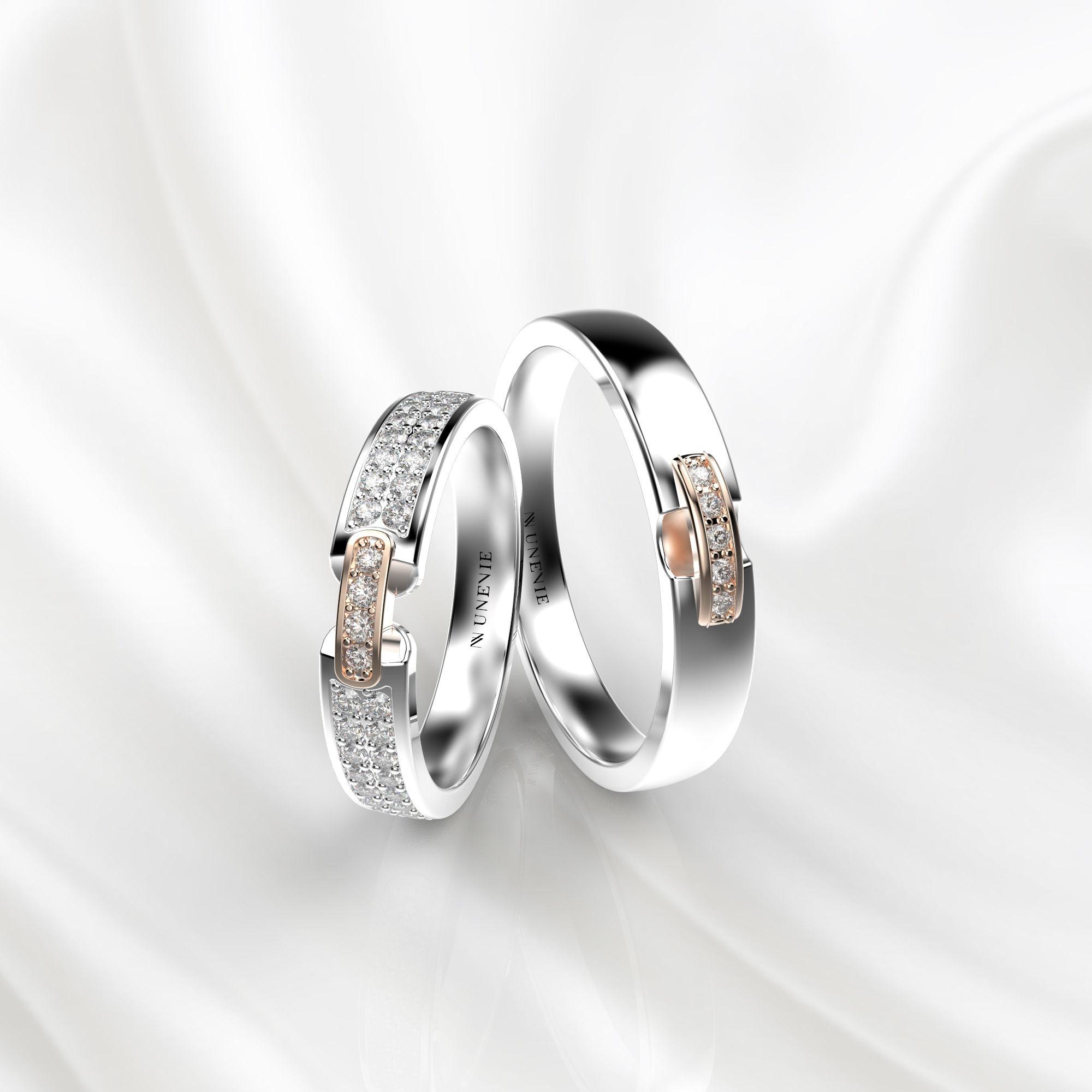 NV66 Парные обручальные кольца из бело-розового золота с бриллиантами