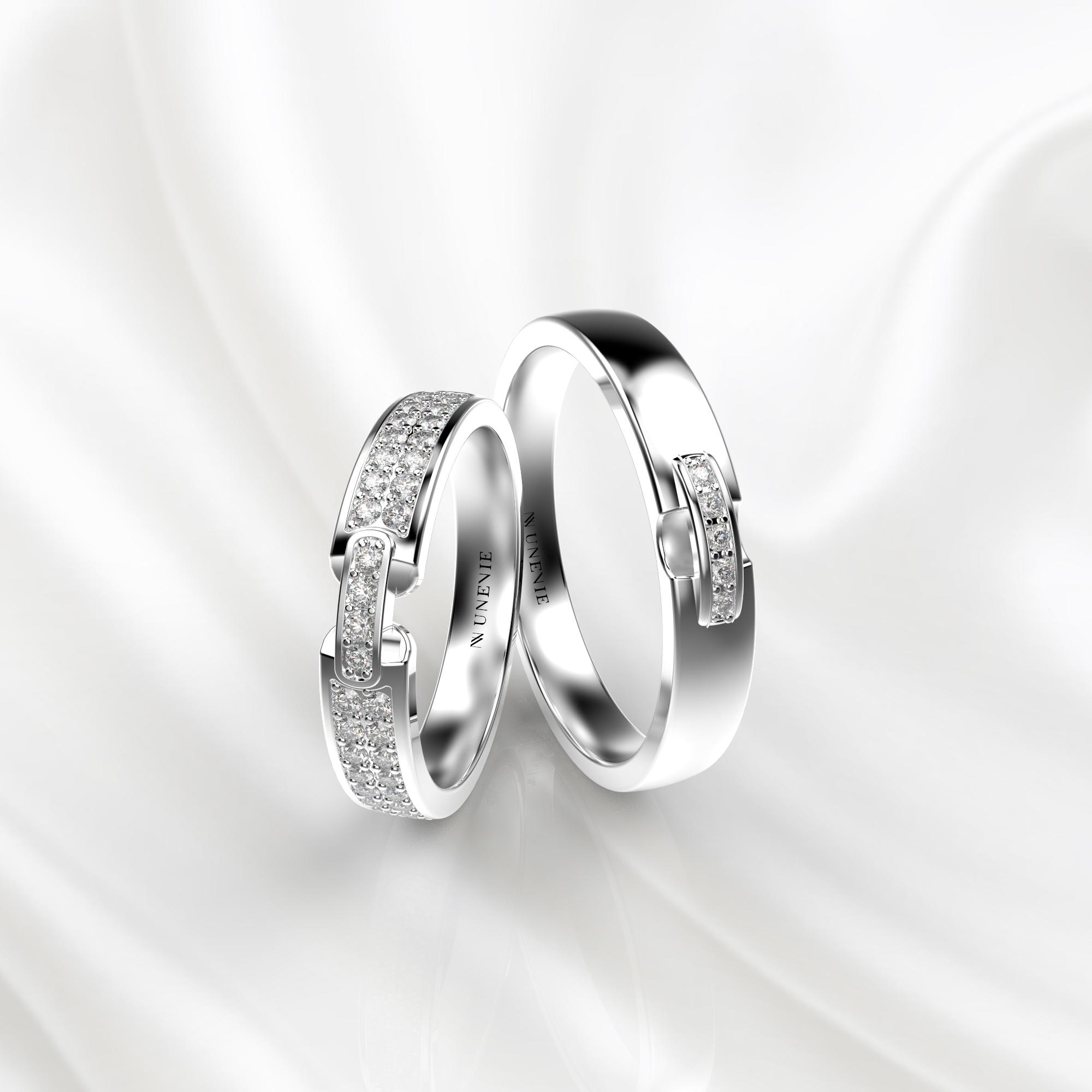 NV66 Парные обручальные кольца из белого золота с бриллиантами