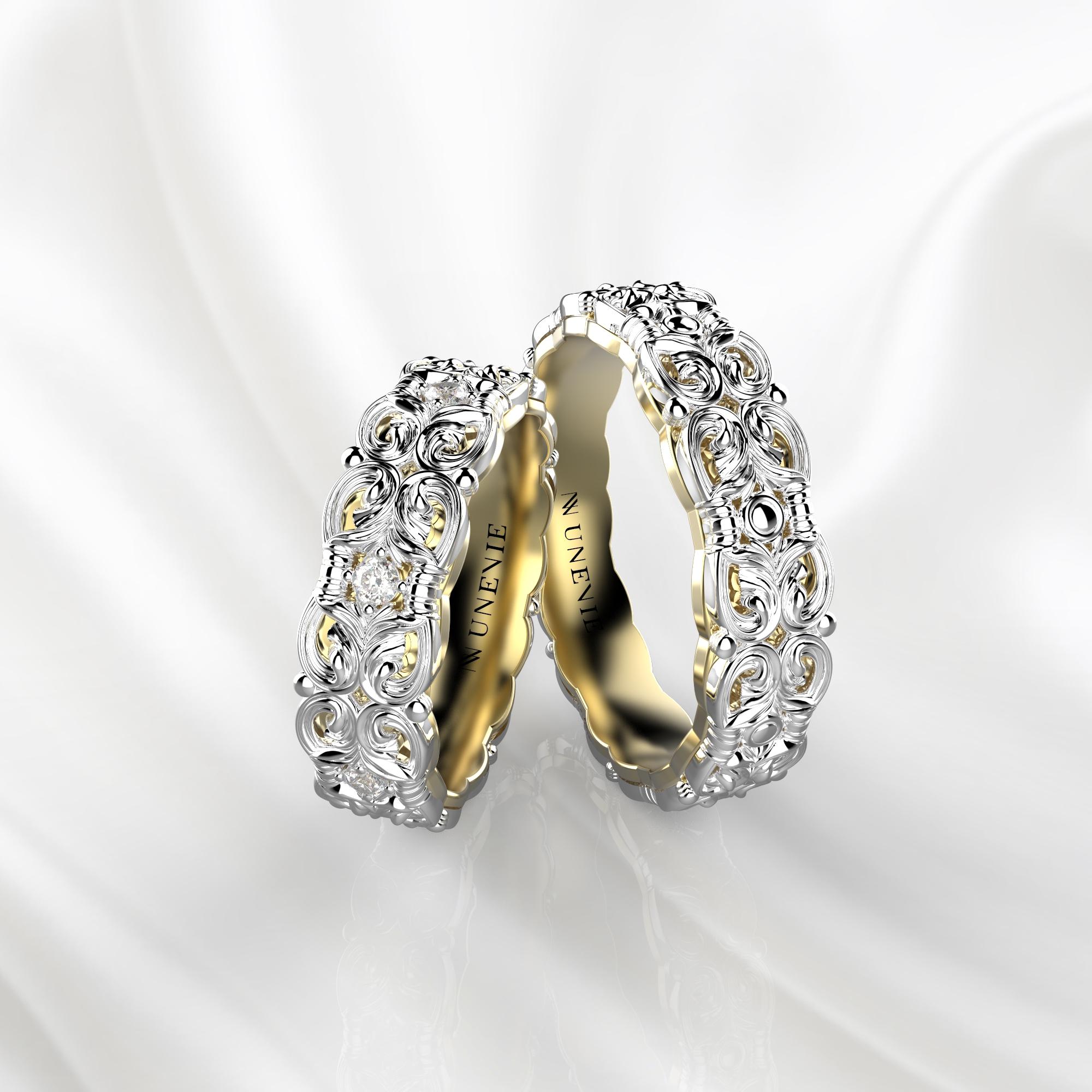 NV67 Парные обручальные кольца из бело-желтого золота с бриллиантами