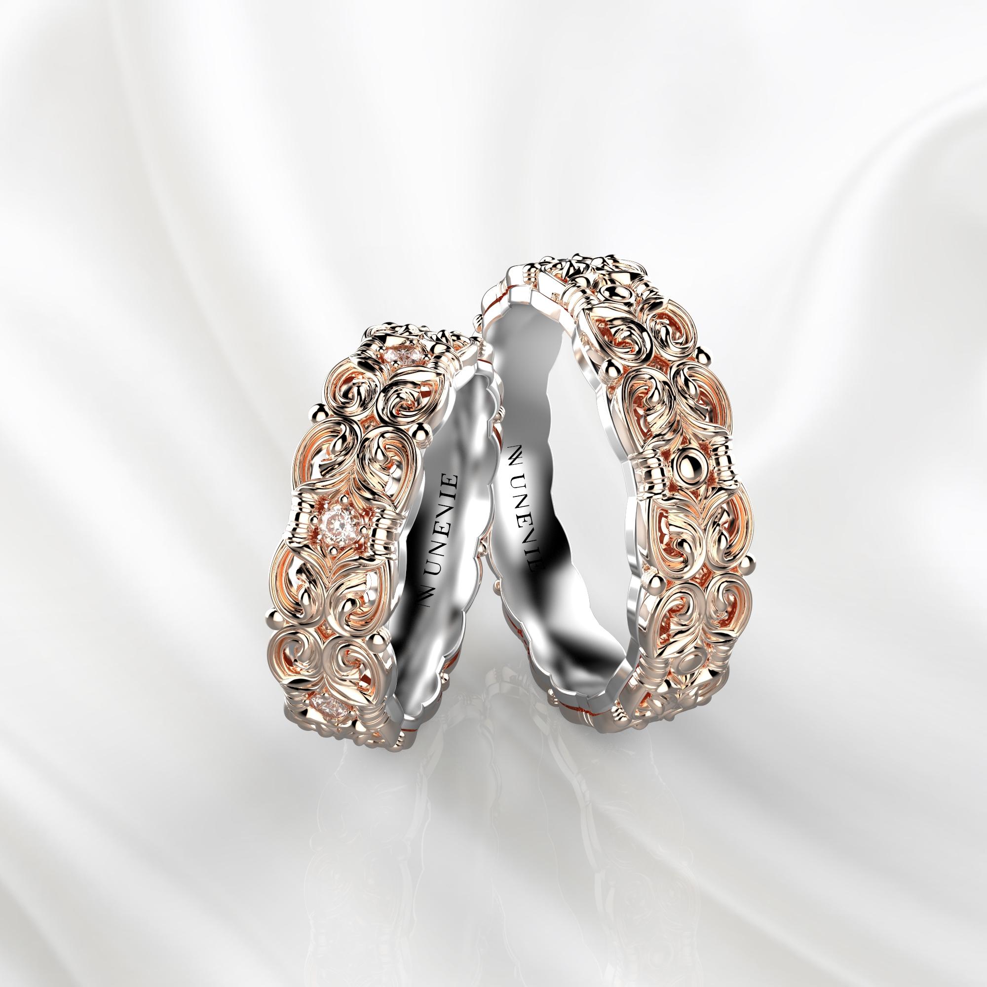 NV67 Парные обручальные кольца из розово-белого золота с бриллиантами