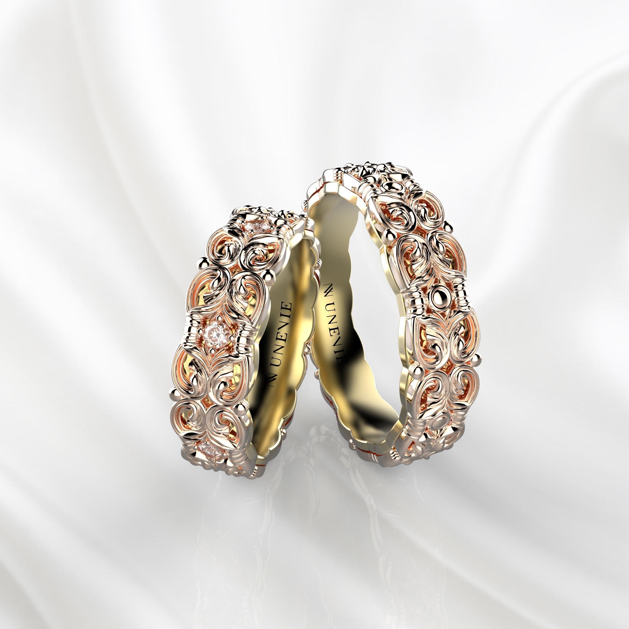 NV67 Парные обручальные кольца из розово-желтого золота с бриллиантами