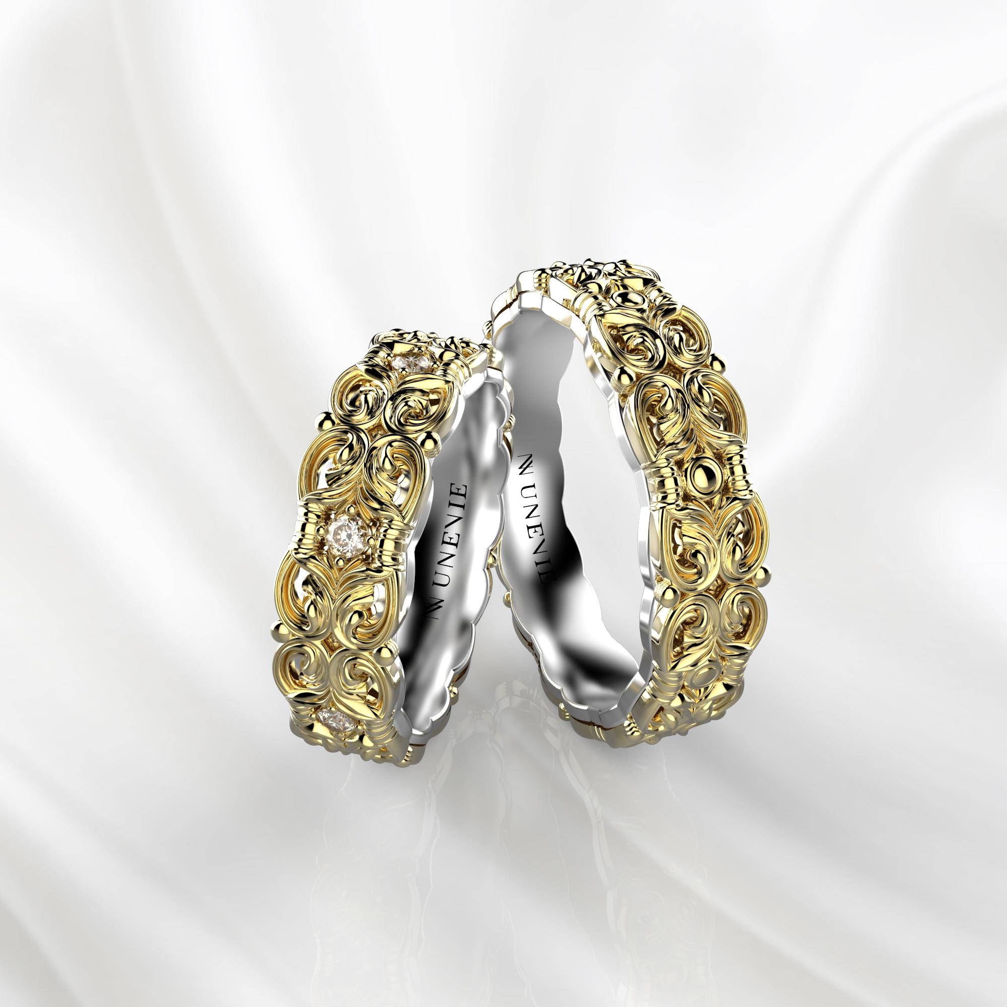 NV67 Парные обручальные кольца из желто-белого золота с бриллиантами