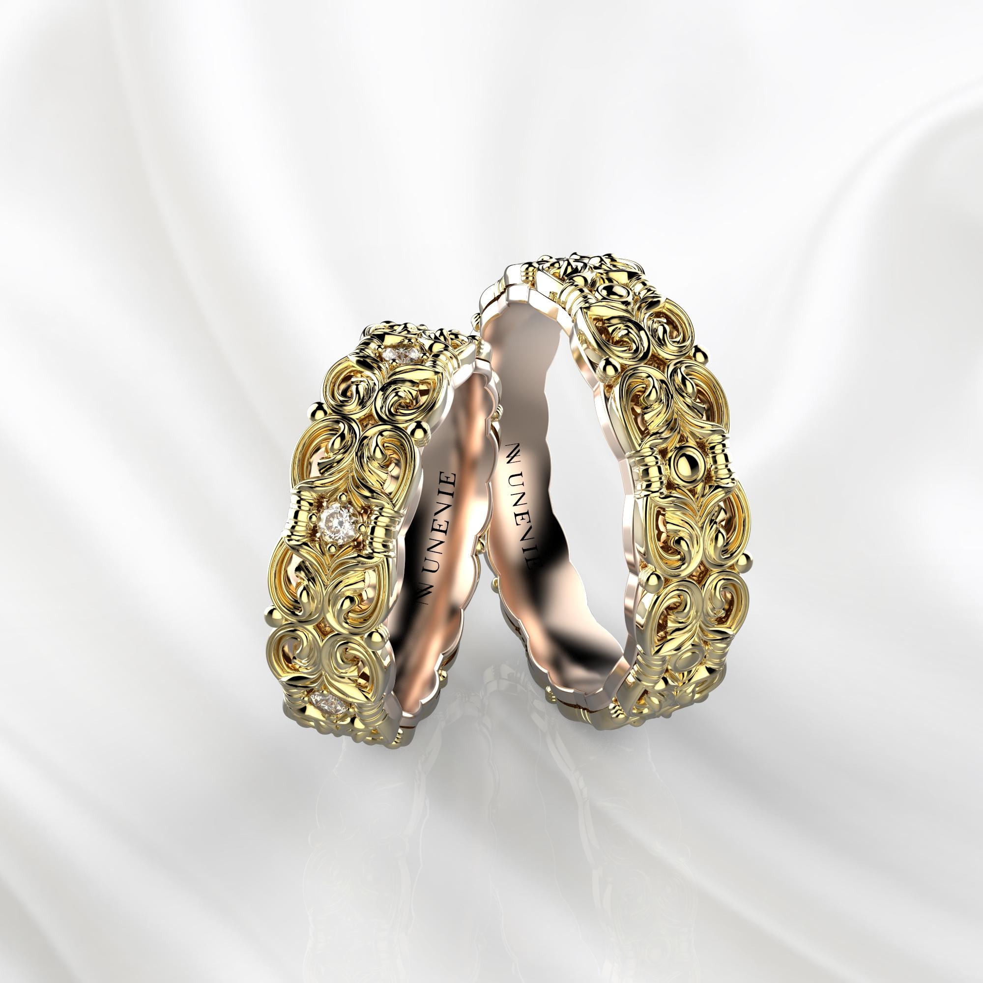 NV67 Парные обручальные кольца из желто-розового золота с бриллиантами