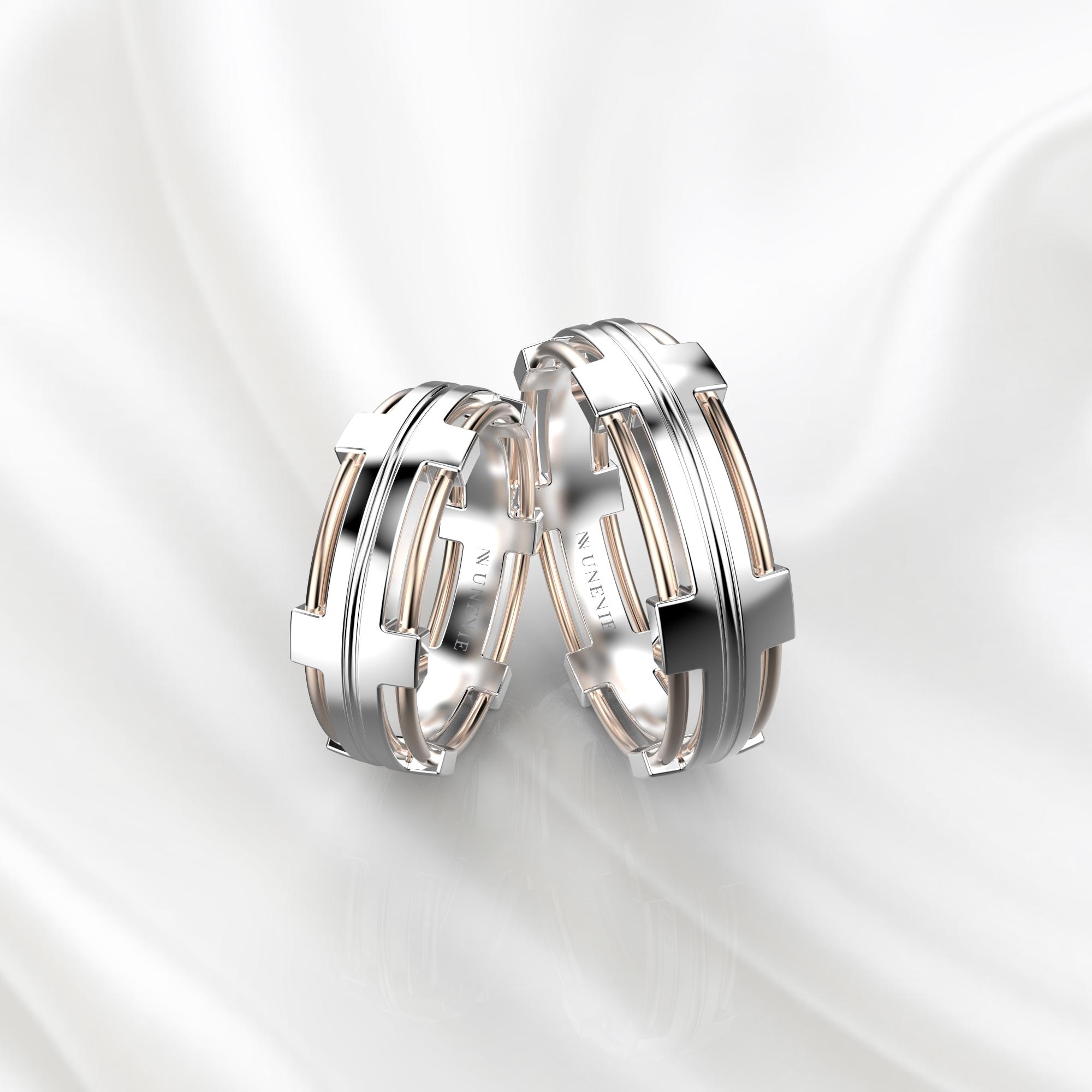 NV68 Парные обручальные кольца из бело-розового золота