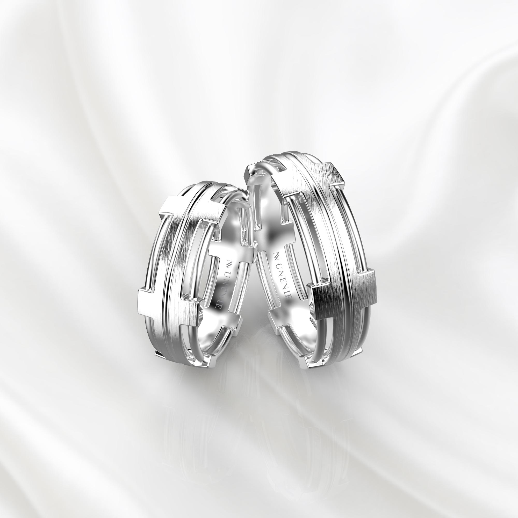 NV68 Парные обручальные кольца из белого золота