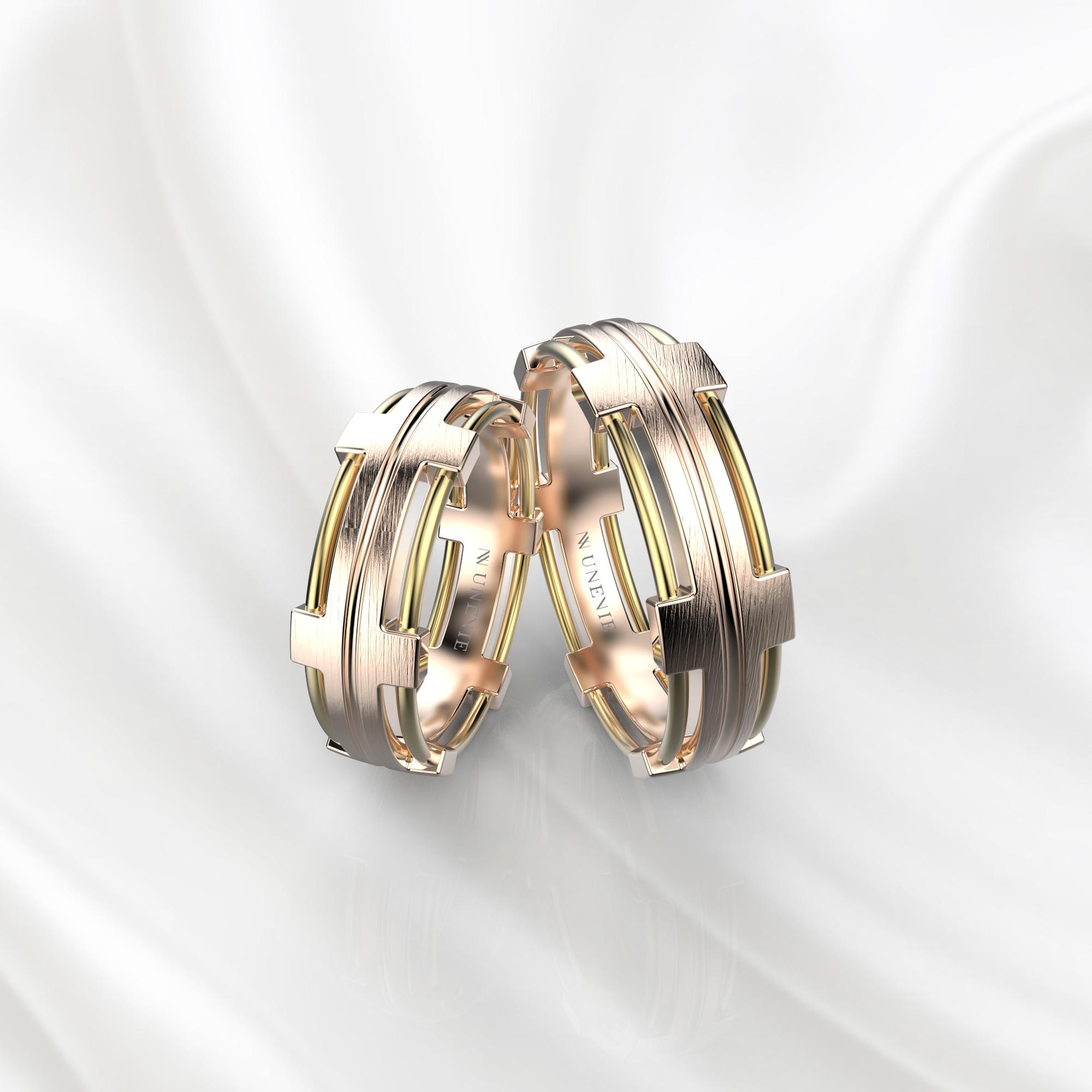NV68 Парные обручальные кольца из розово-желтого золота