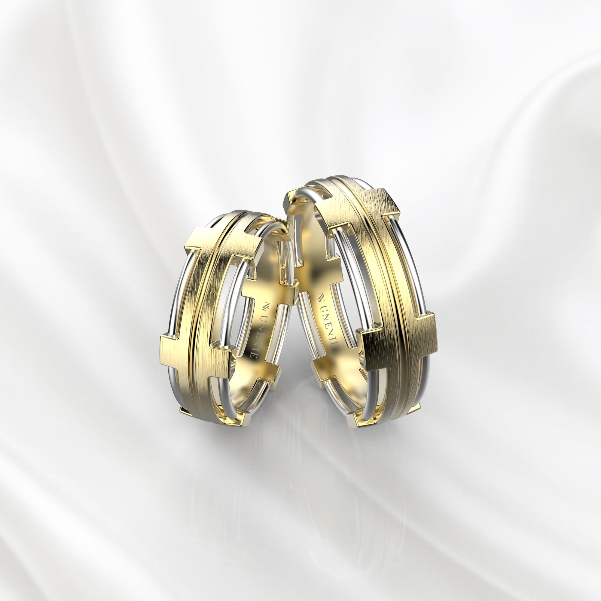 NV68 Парные обручальные кольца из желто-белого золота