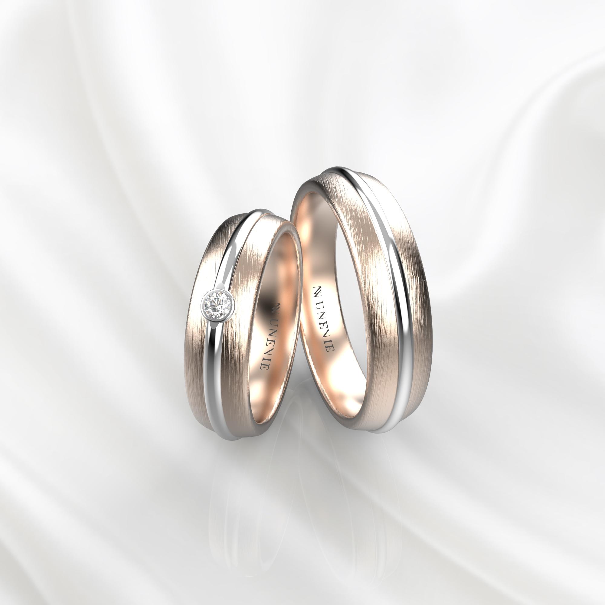 NV69 Парные обручальные кольца из розово-белого золота с бриллиантом