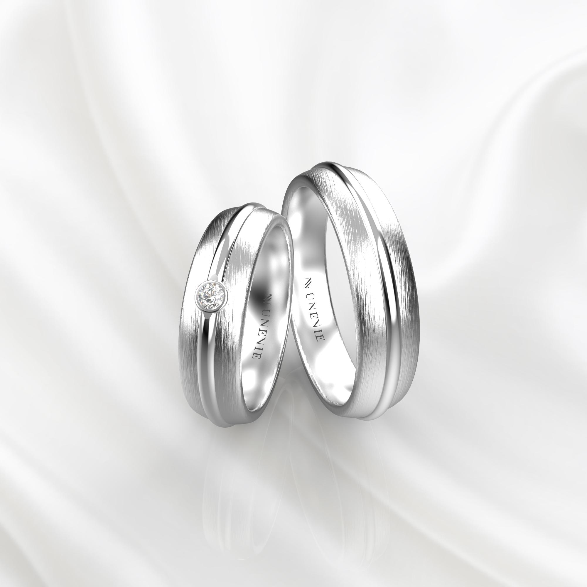 NV69 Парные обручальные кольца из белого золота с бриллиантом