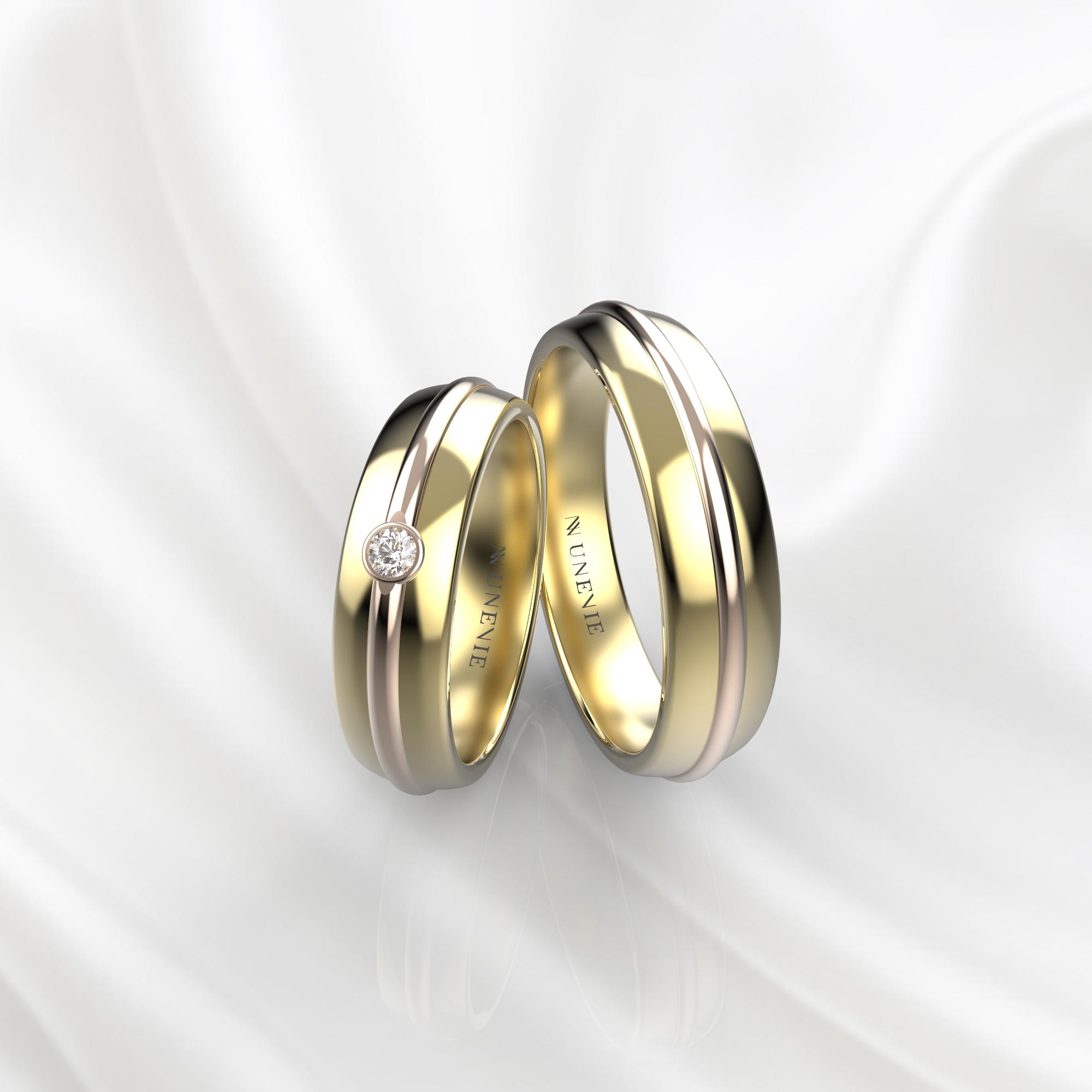 NV69 Парные обручальные кольца из желто-розового золота с бриллиантом