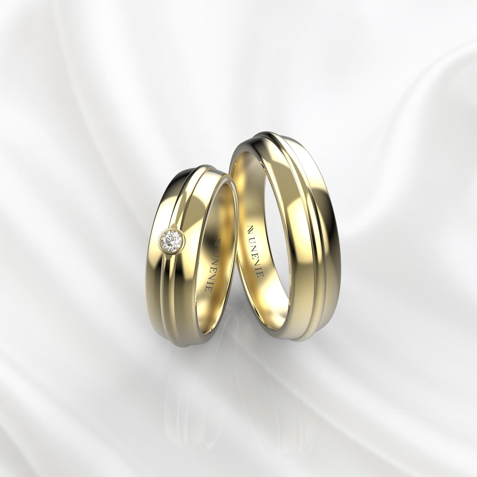 NV69 Парные обручальные кольца из желтого золота с бриллиантом
