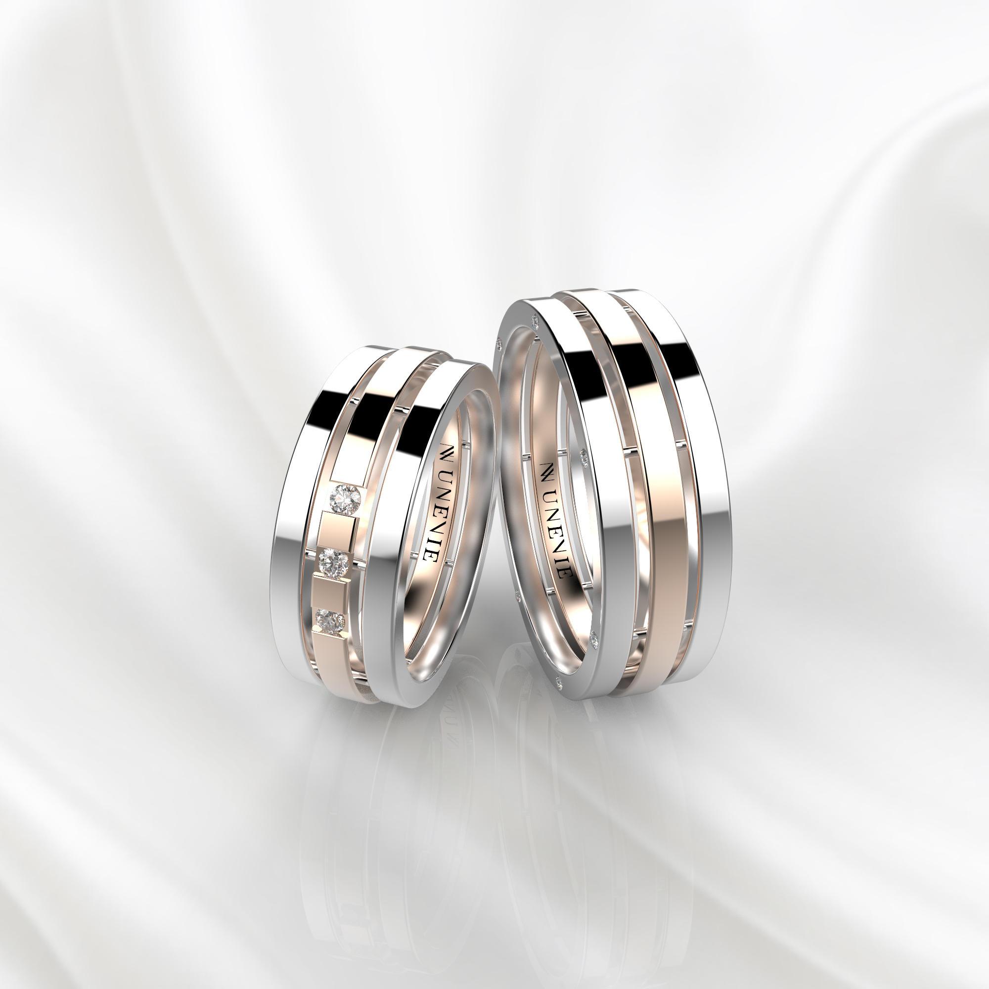 NV70 Парные обручальные кольца из бело-розового золота с бриллиантами