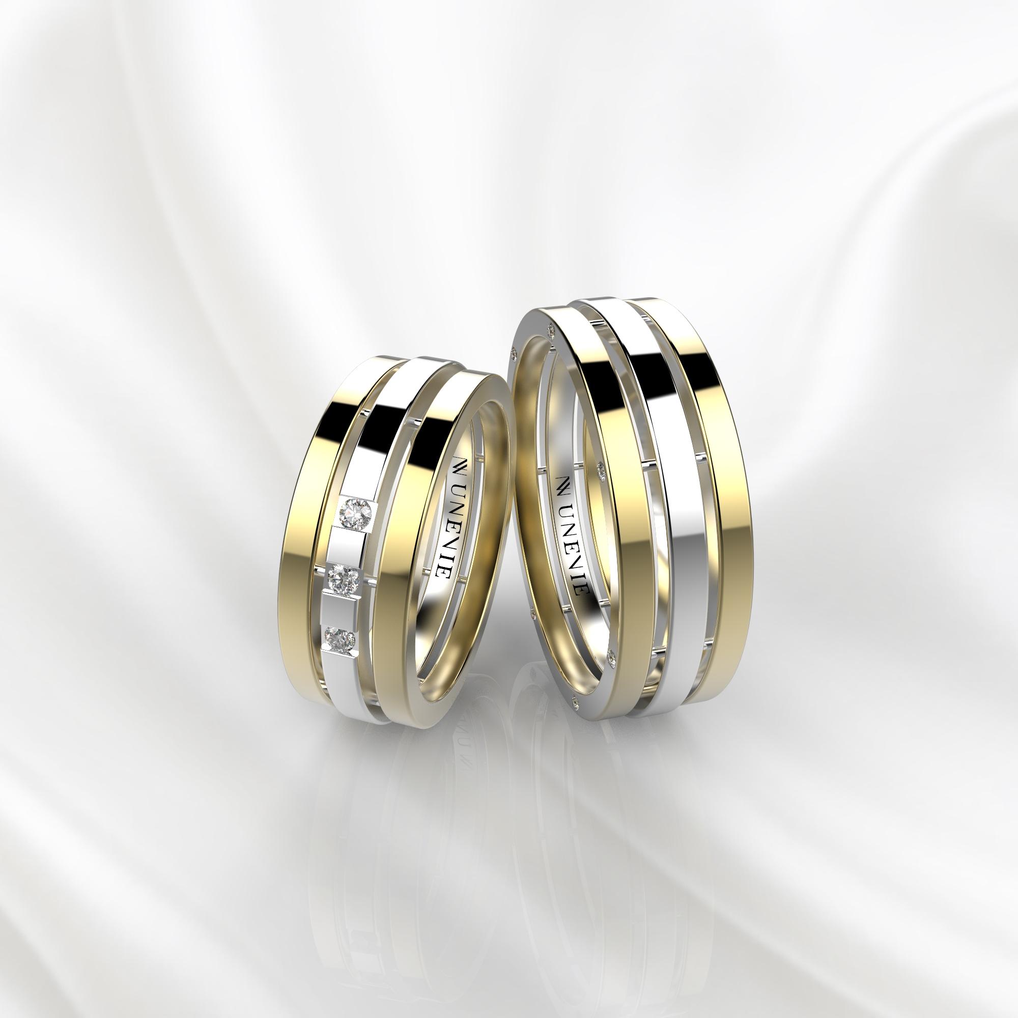 NV70 Парные обручальные кольца из желто-белого золота с бриллиантами