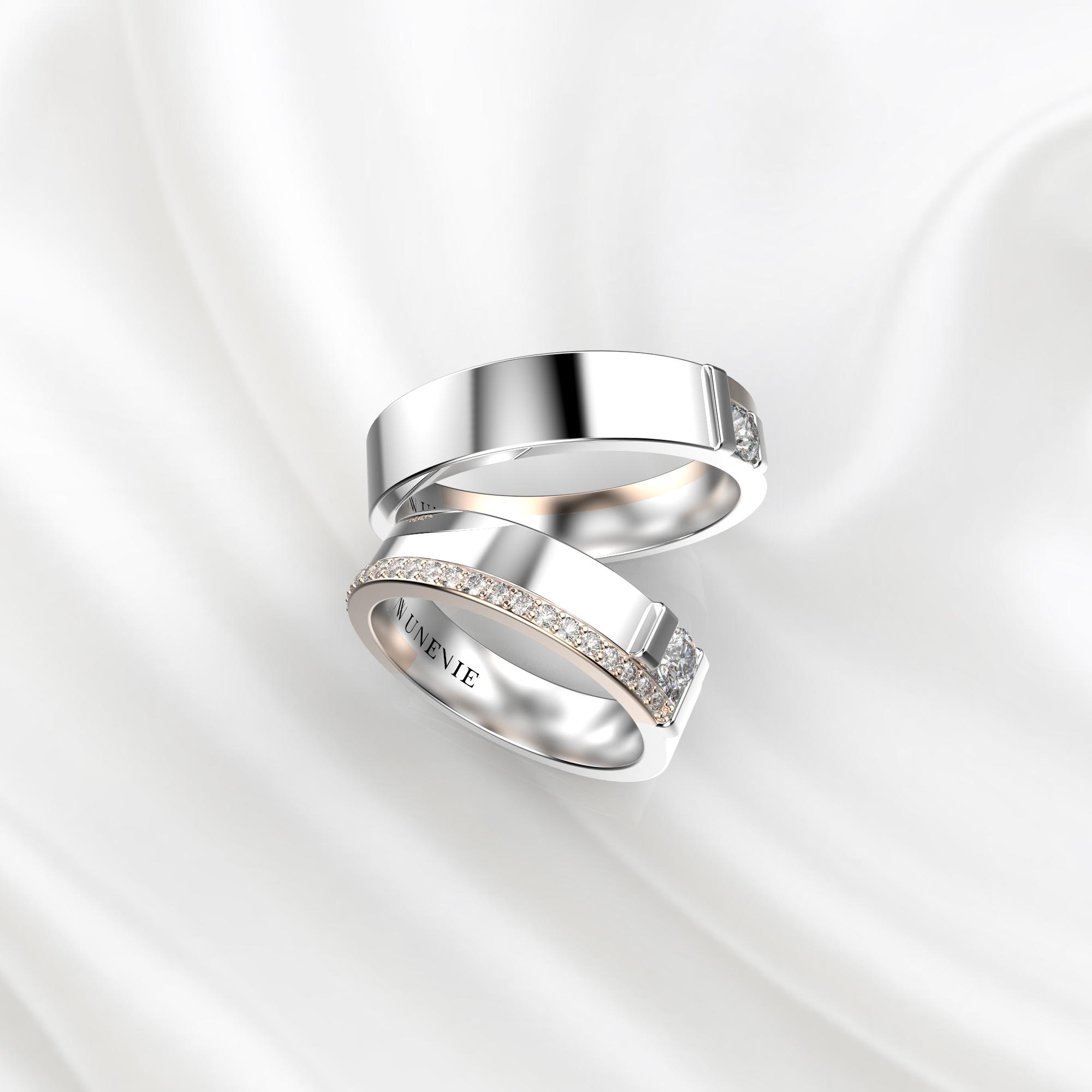 NV71 Парные обручальные кольца из бело-розового золота с бриллиантами