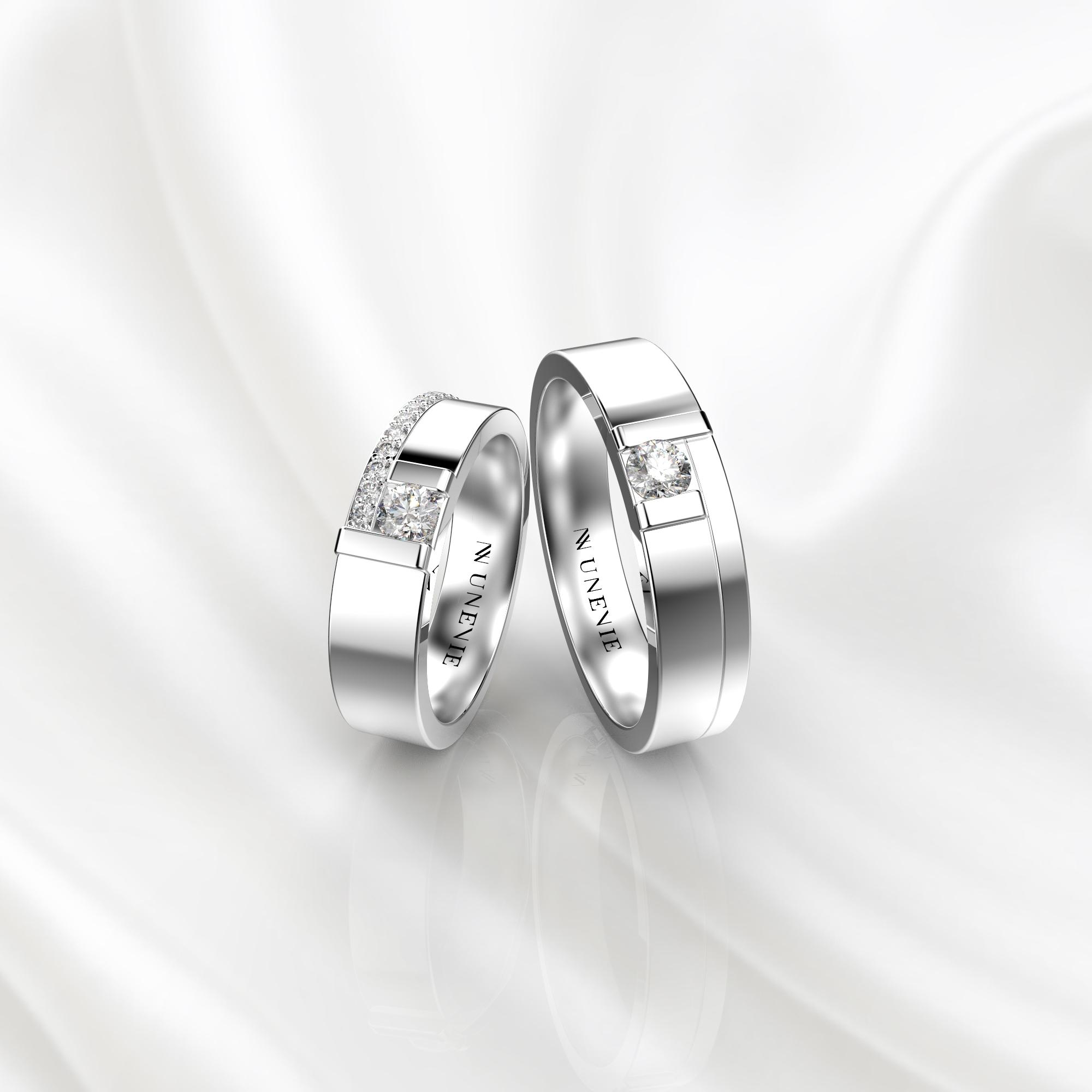 NV71 Парные обручальные кольца из белого золота с бриллиантами