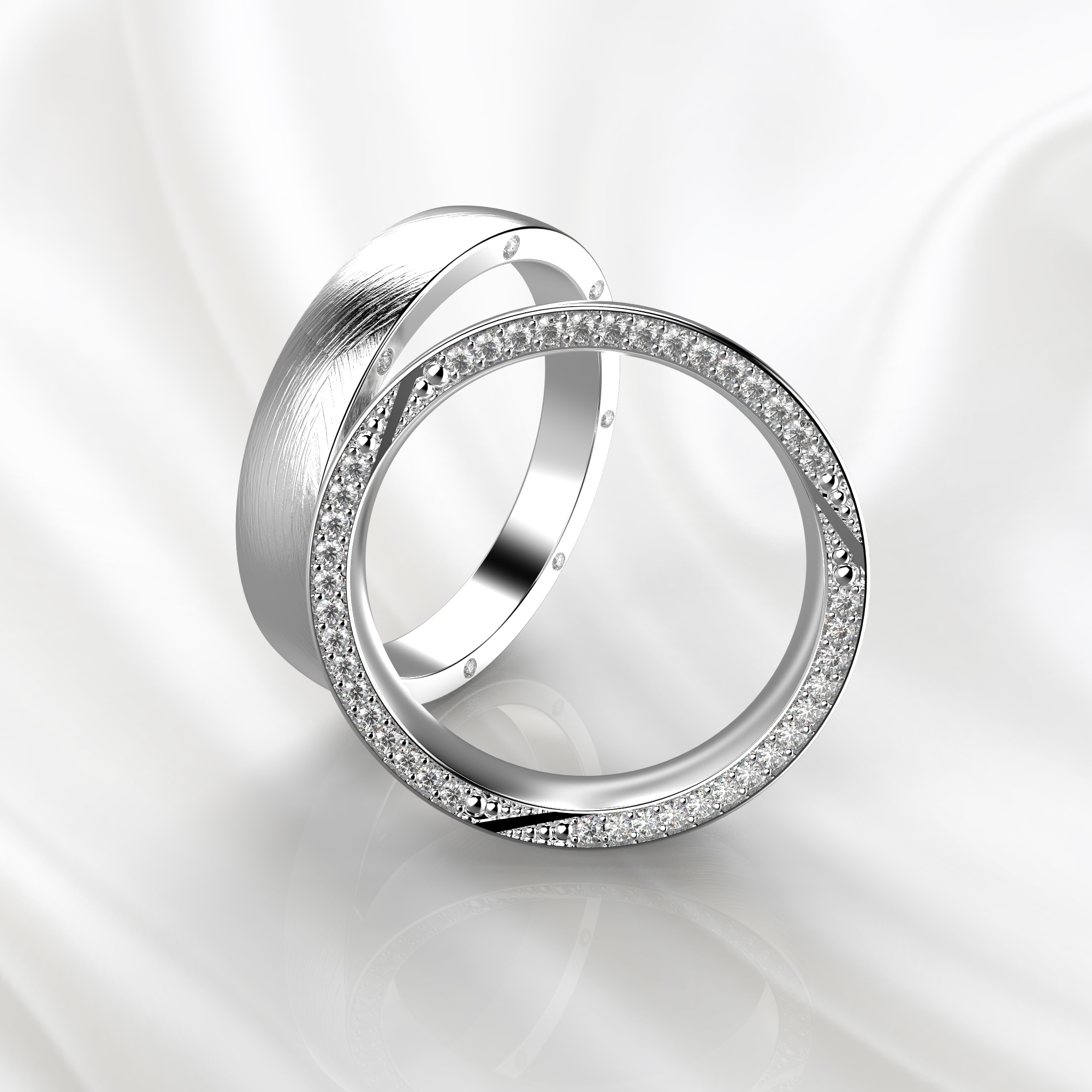 NV72 Парные обручальные кольца из белого золота с бриллиантами