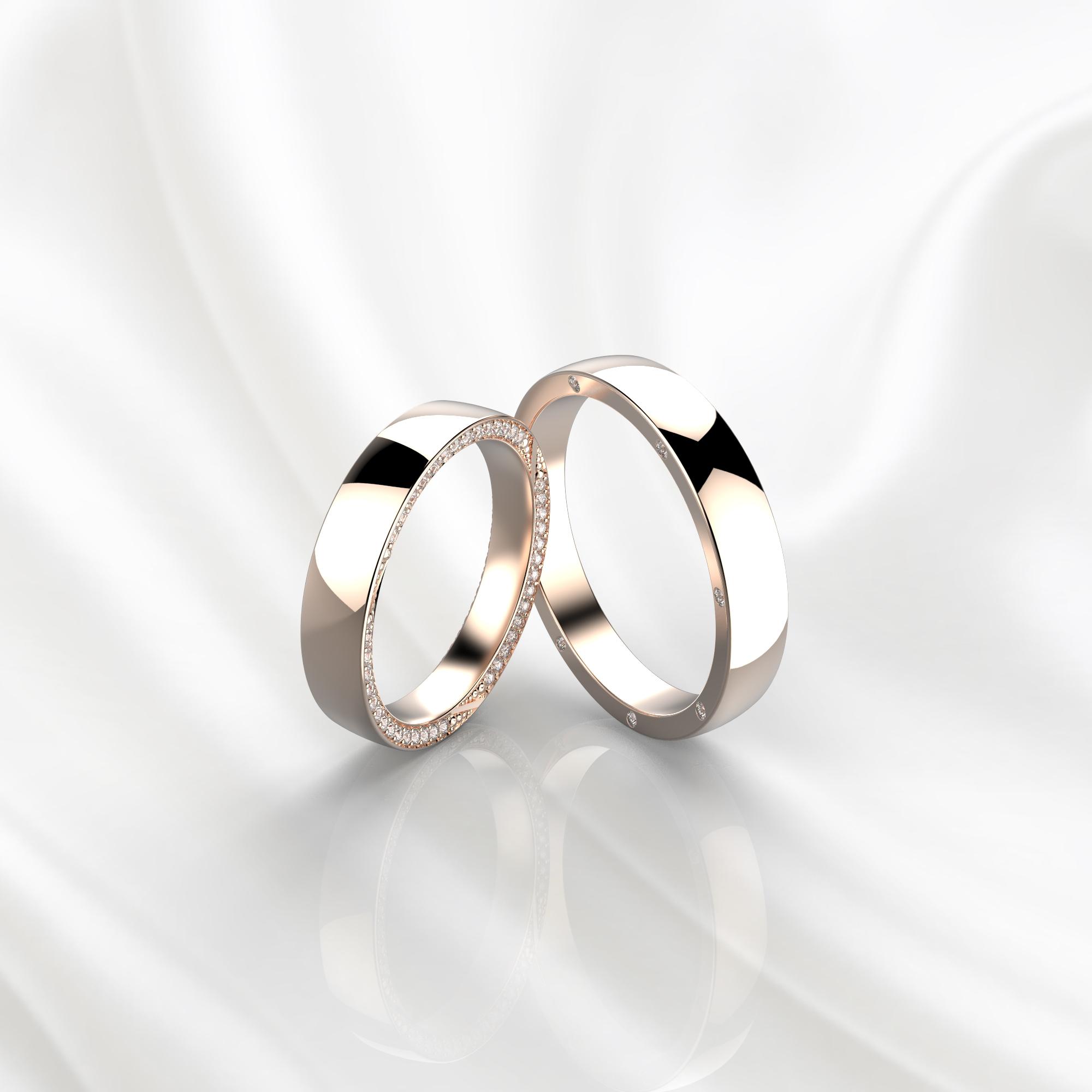 NV72 Парные обручальные кольца из розового золота с бриллиантами