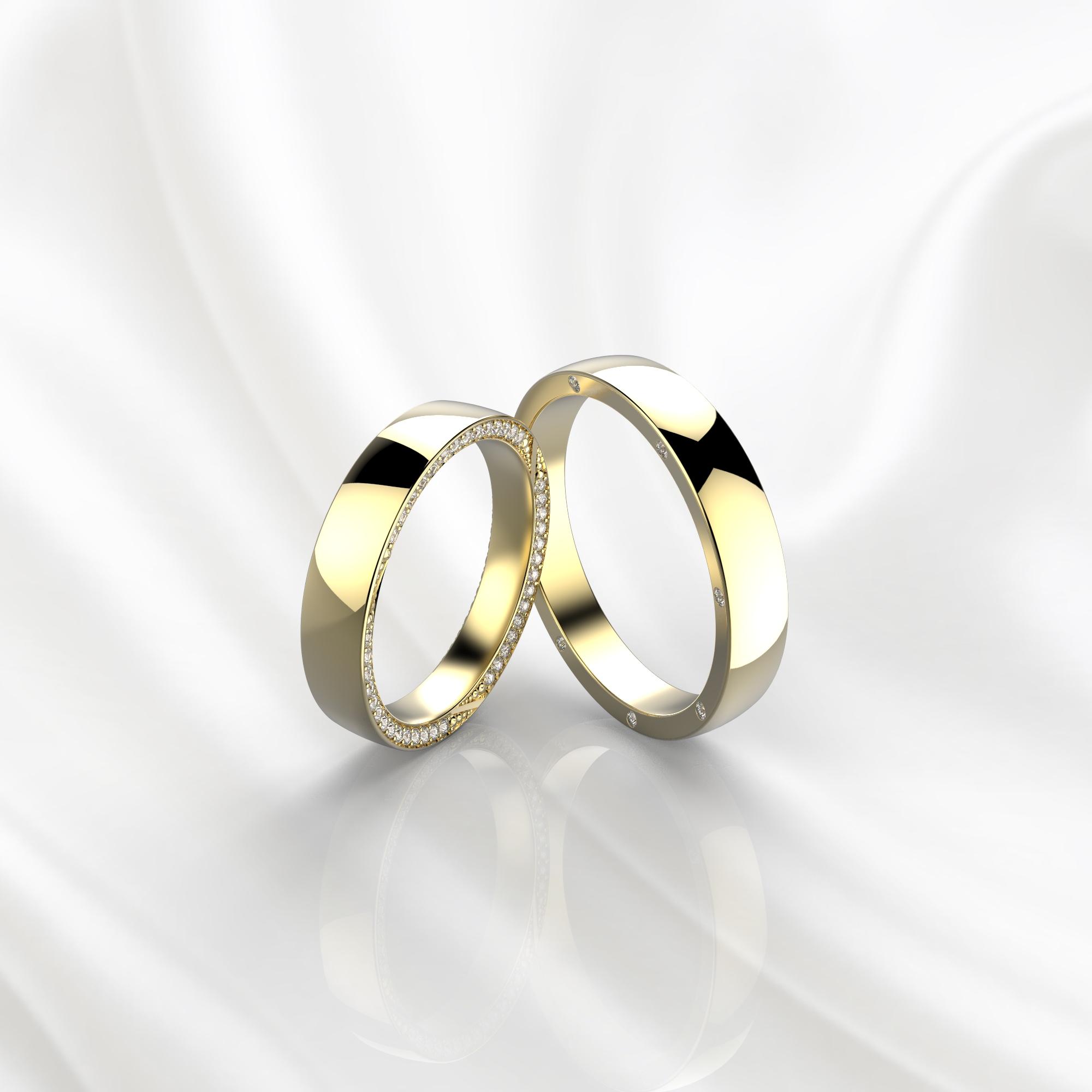 NV72 Парные обручальные кольца из желтого золота с бриллиантами