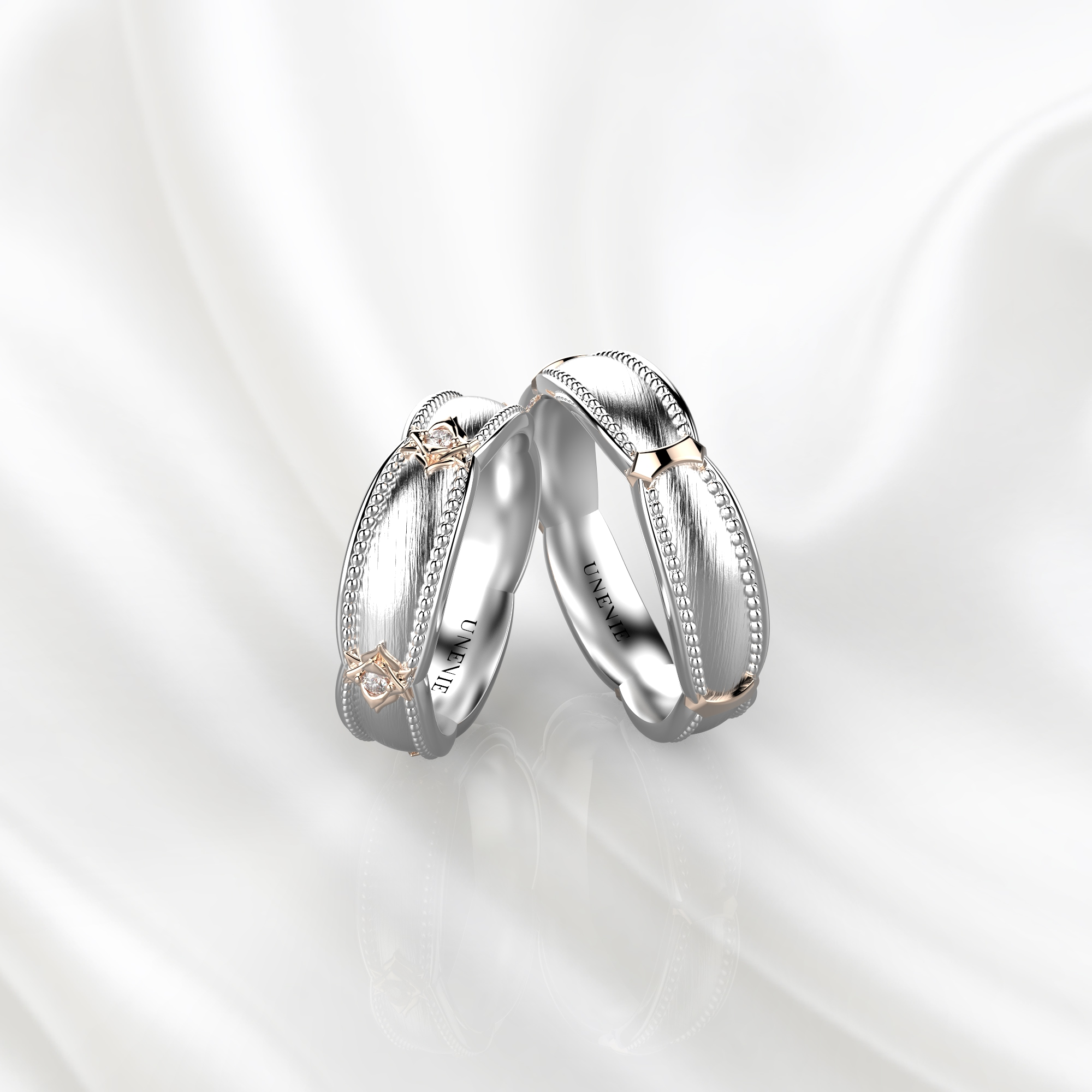 NV73 Парные обручальные кольца из бело-розового золота с бриллиантами