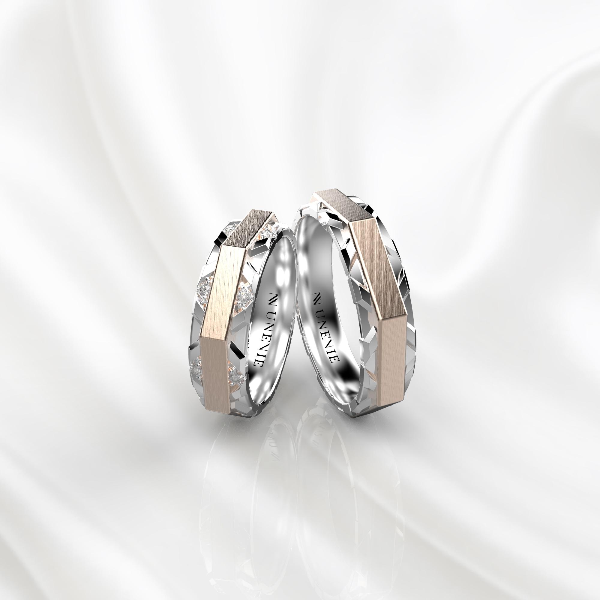 NV74 Парные обручальные кольца из бело-розового золота с бриллиантами