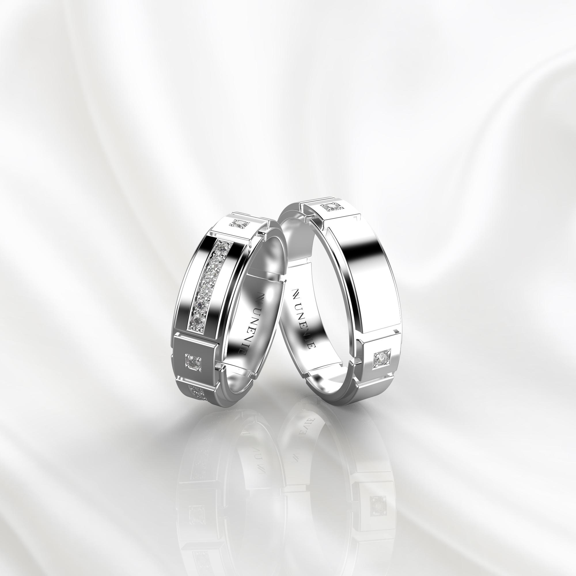 NV75 Парные обручальные кольца из белого золота с бриллиантами