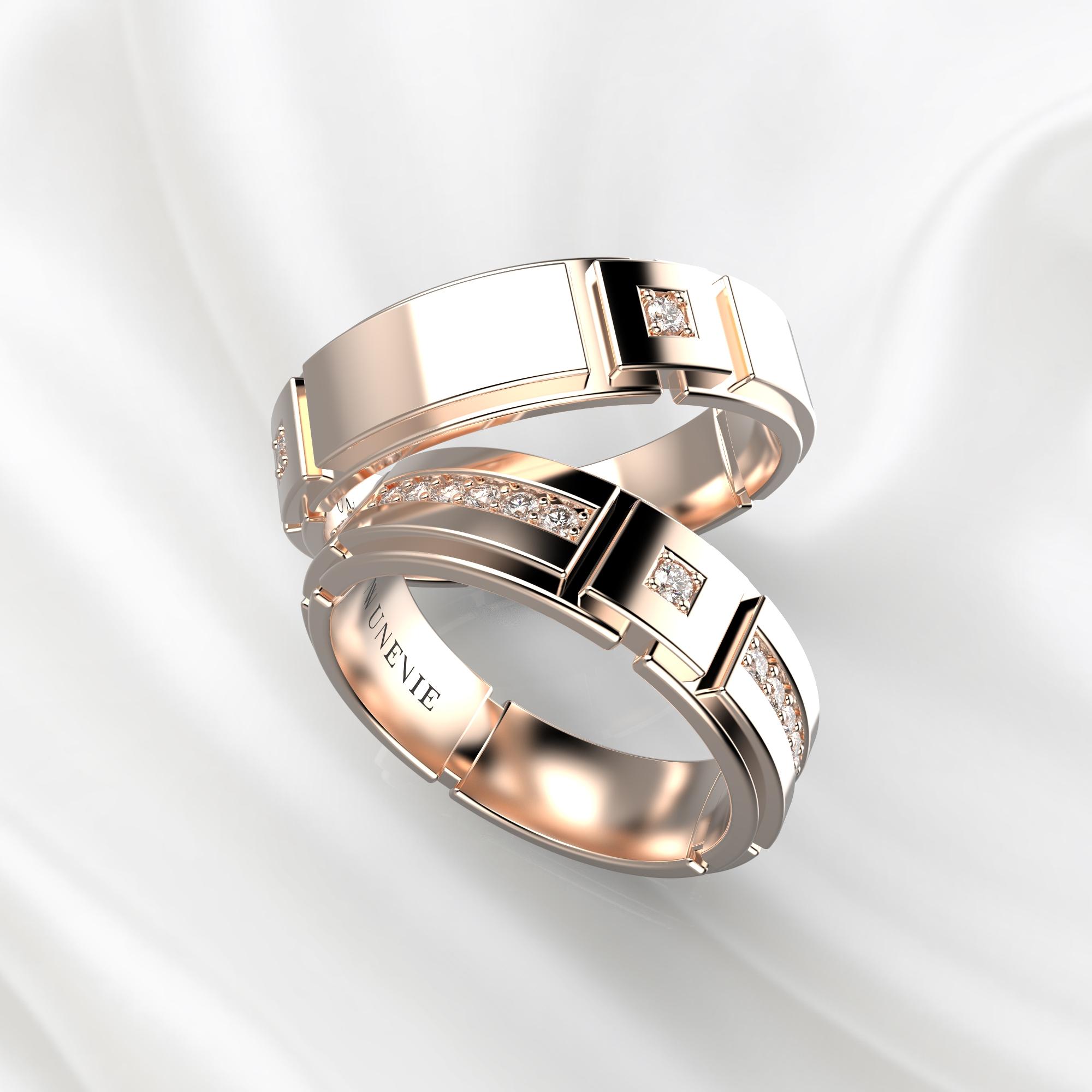 NV75 Парные обручальные кольца из розового золота с бриллиантами