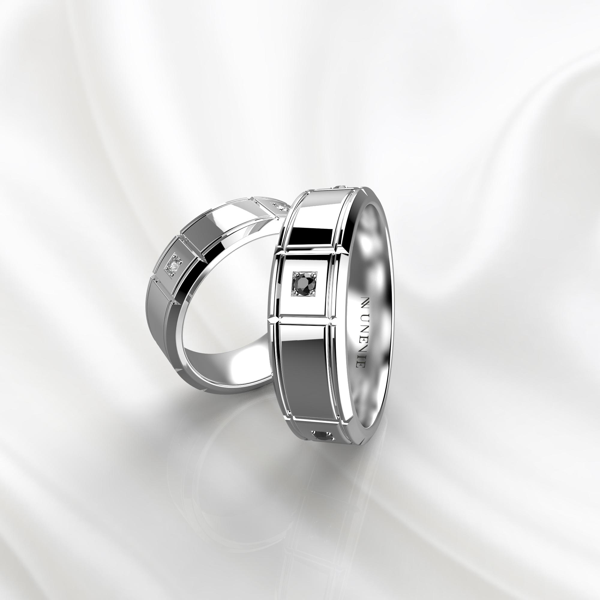 NV76 Парные обручальные кольца из белого золота с черными бриллиантами