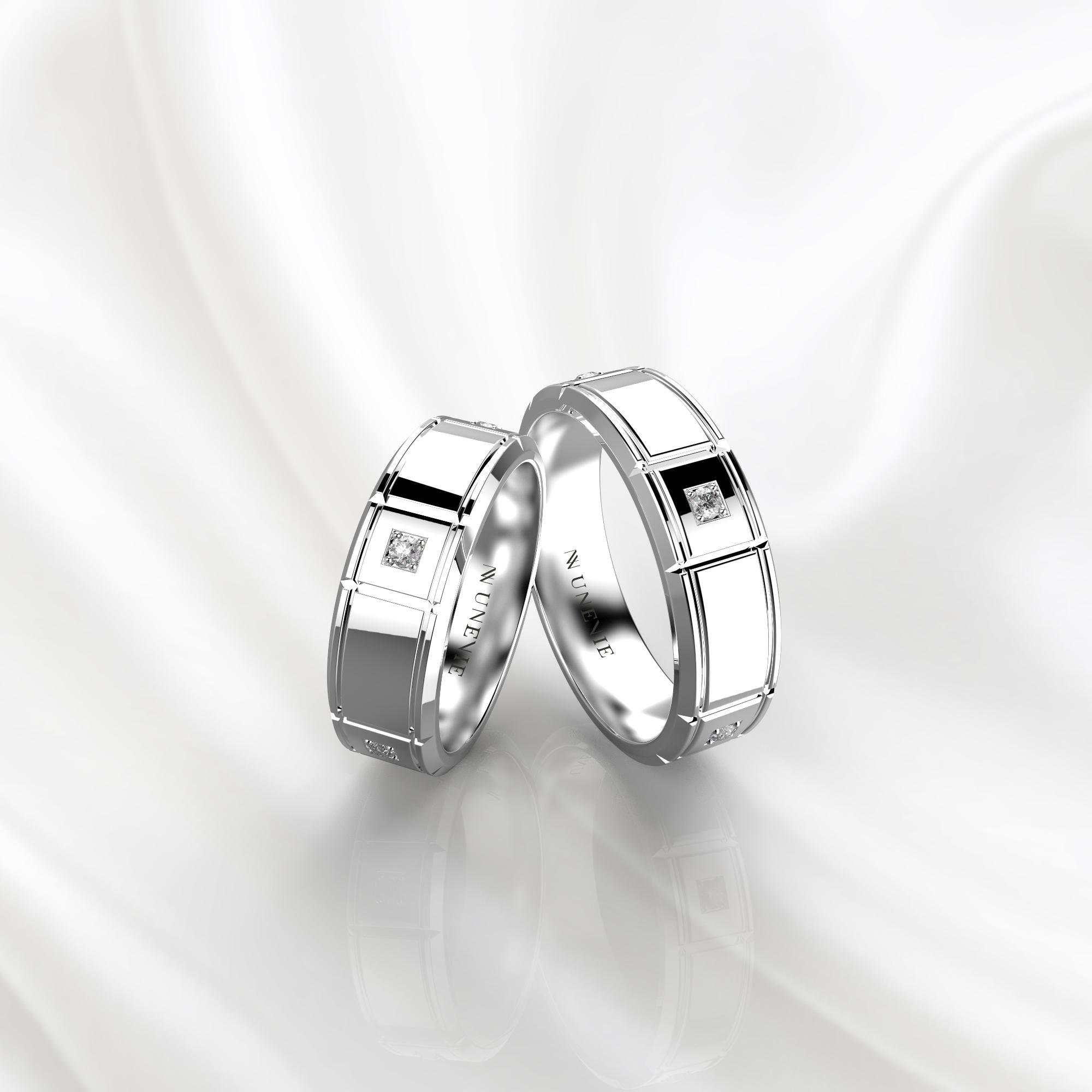 NV76 Парные обручальные кольца из белого золота с бриллиантами