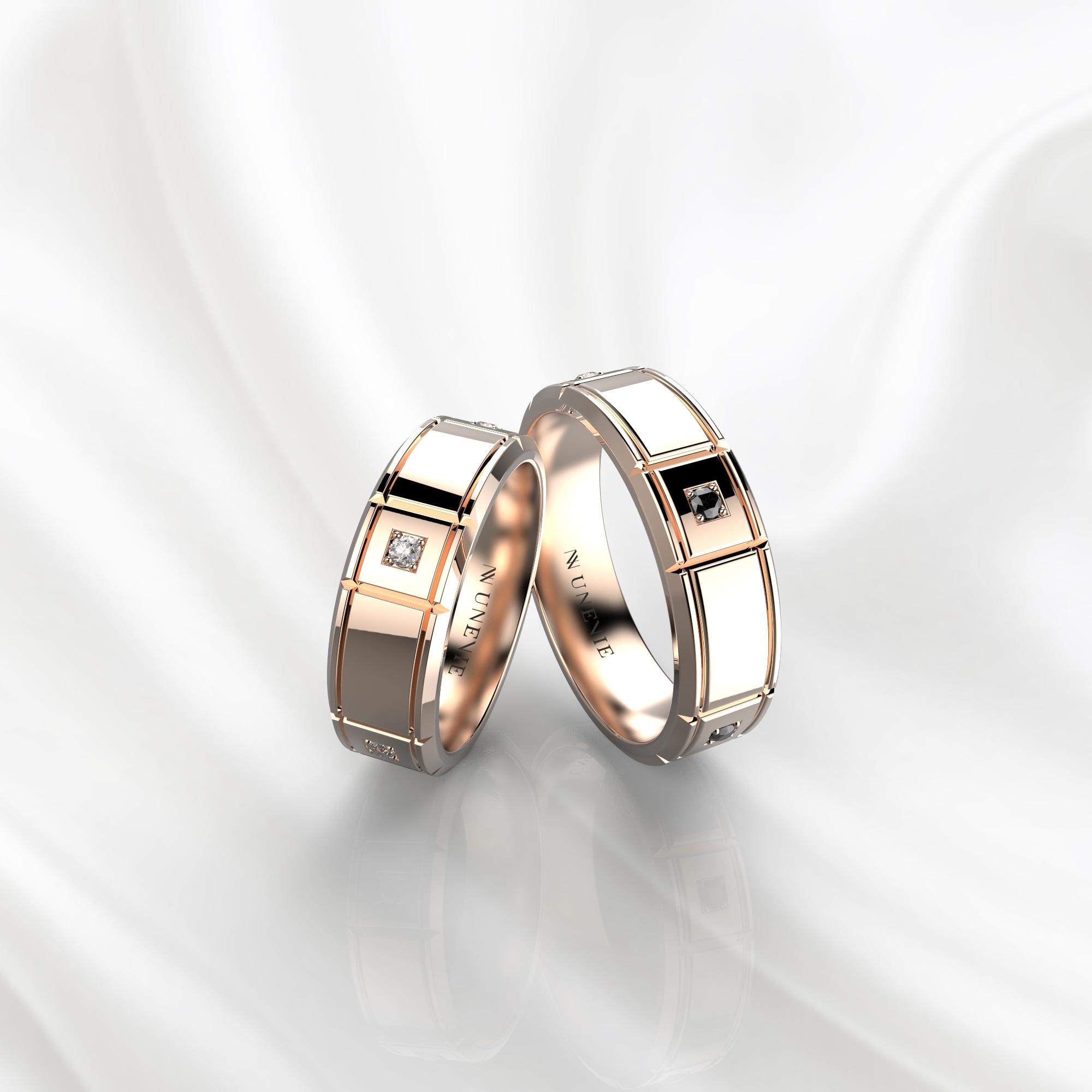 NV76 Парные обручальные кольца из розового золота с черными бриллиантами