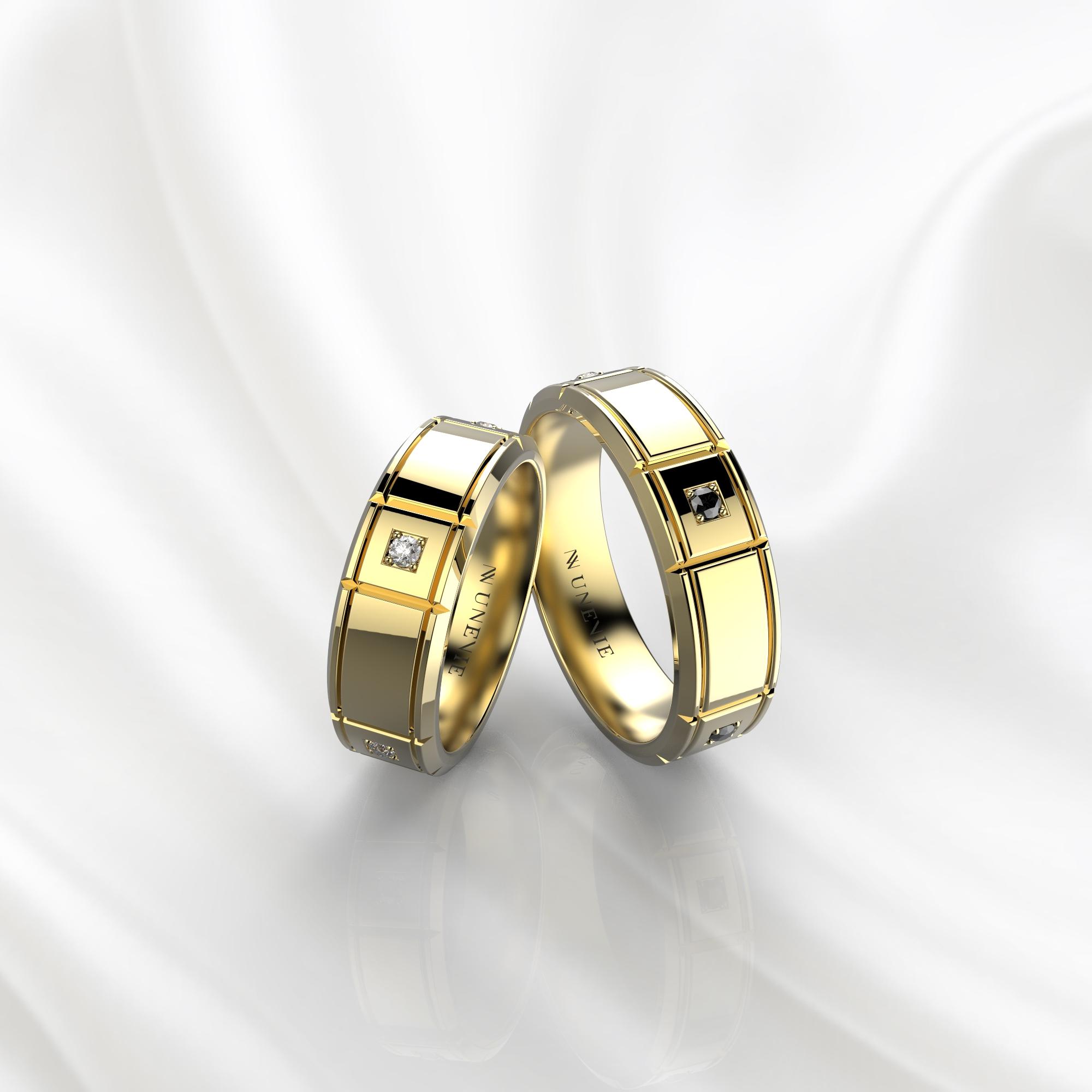 NV76 Парные обручальные кольца из желтого золота с черными бриллиантами
