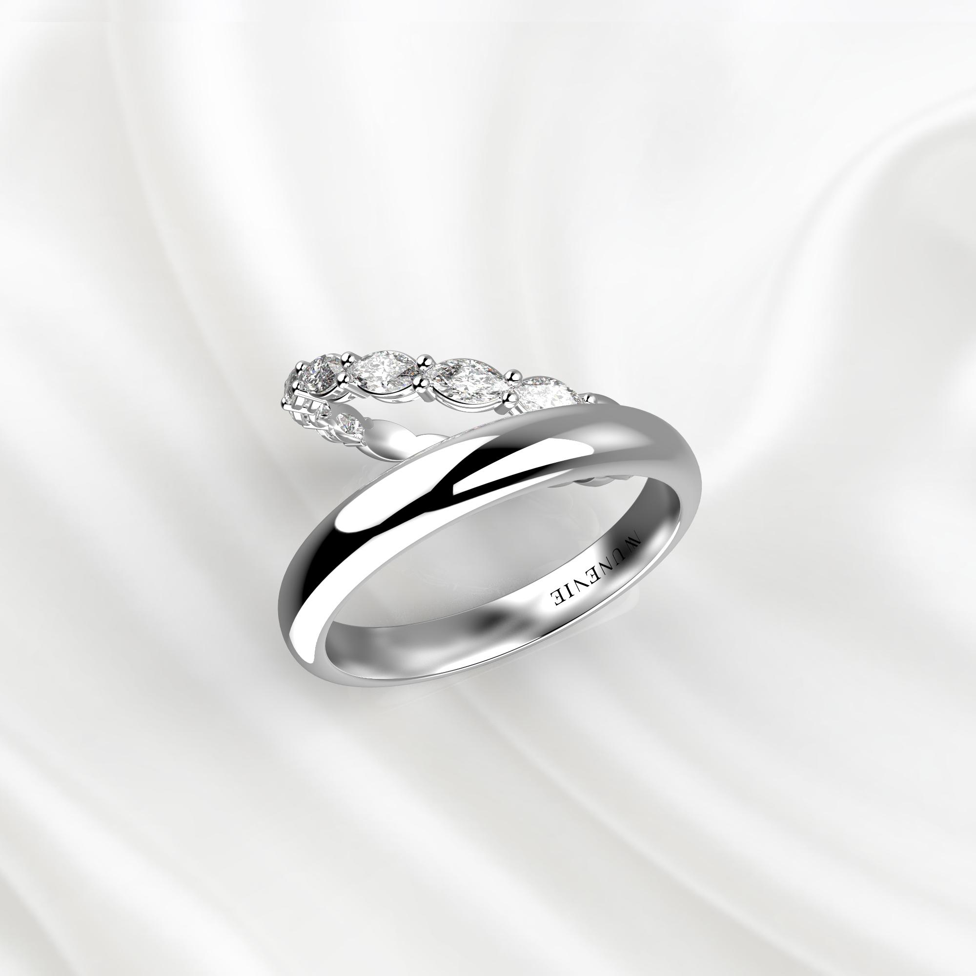 NV78 Парные обручальные кольца из белого золота с бриллиантами