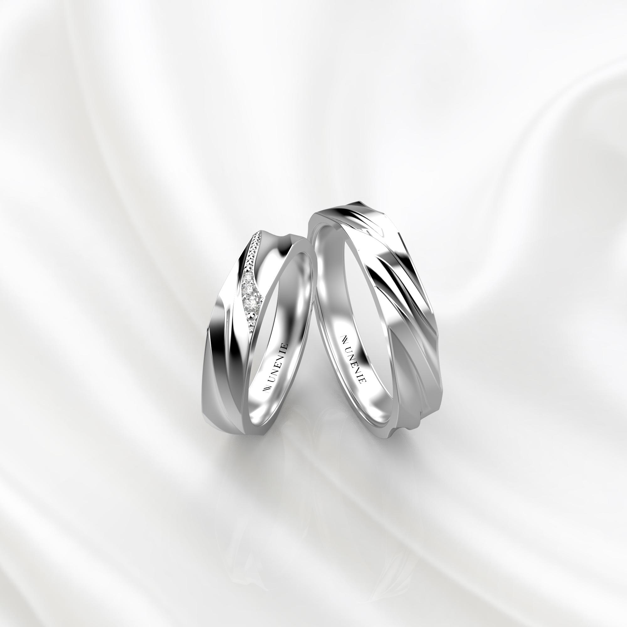 NV79 Парные обручальные кольца из белого золота с бриллиантами