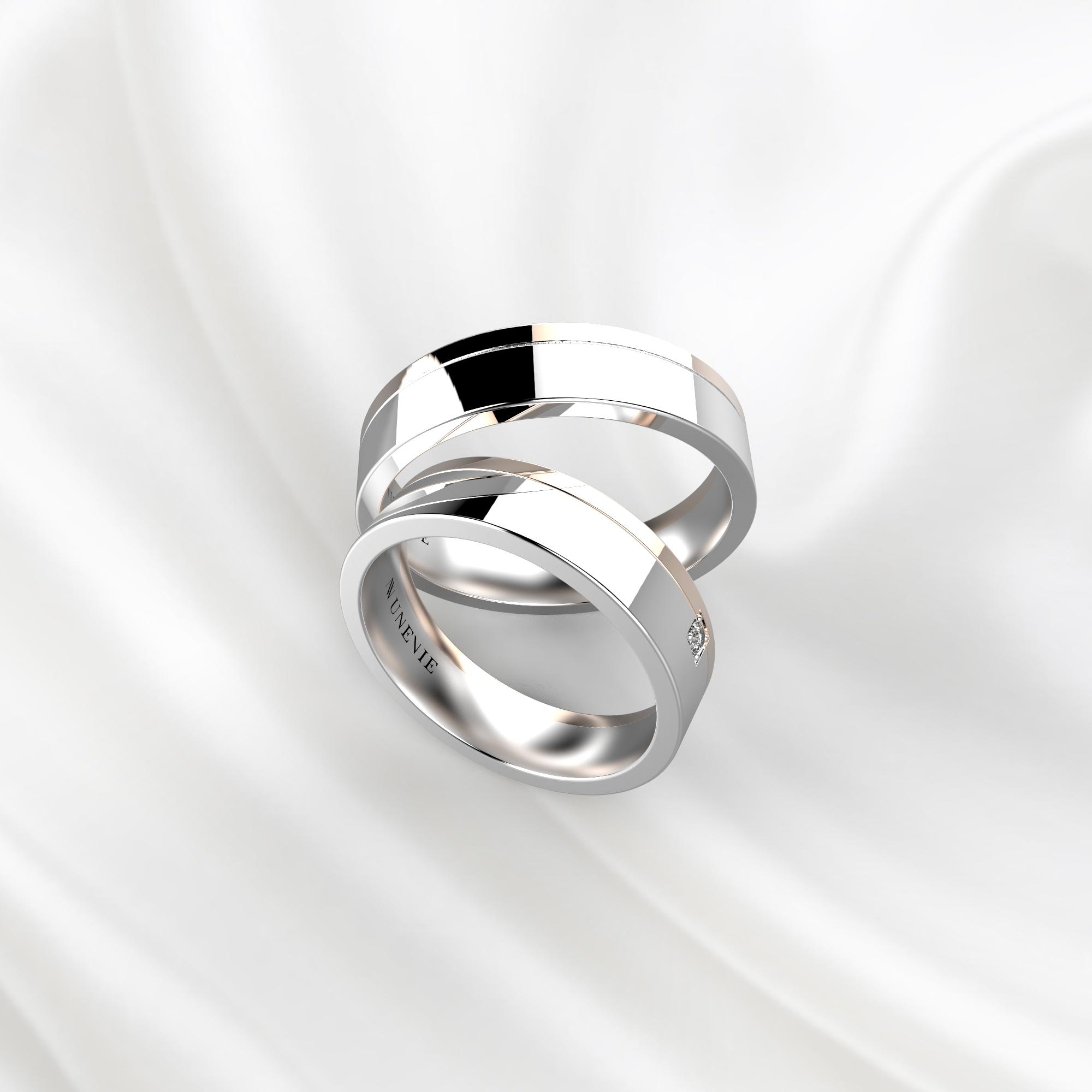 NV80 Парные обручальные кольца из бело-розового золота с бриллиантом