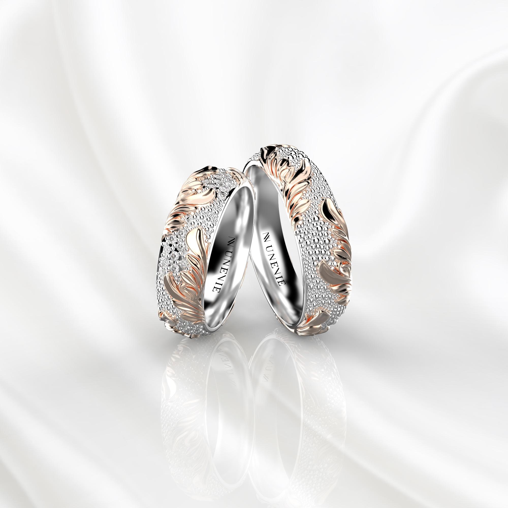 NV81 Парные обручальные кольца из розово-белого золота с бриллиантами