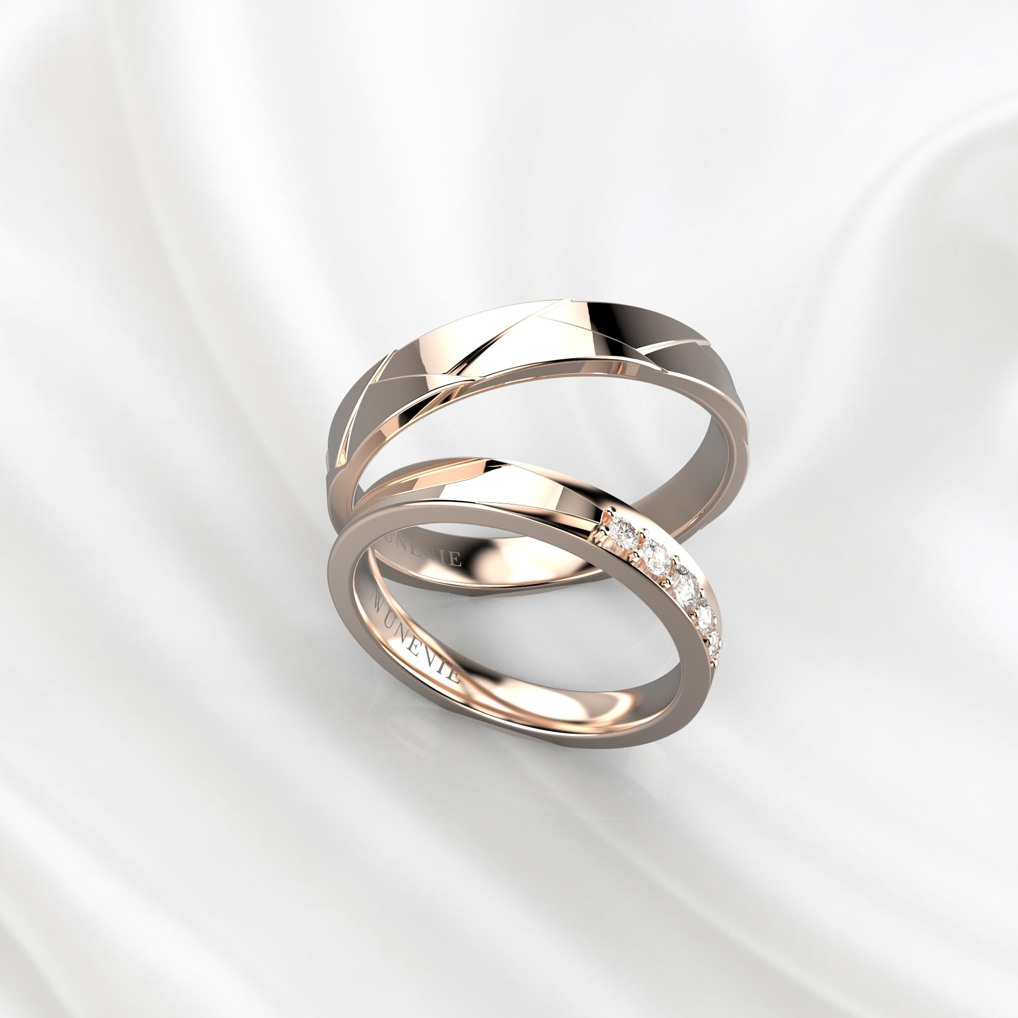 NV82 Парные обручальные кольца из розового золота с бриллиантами