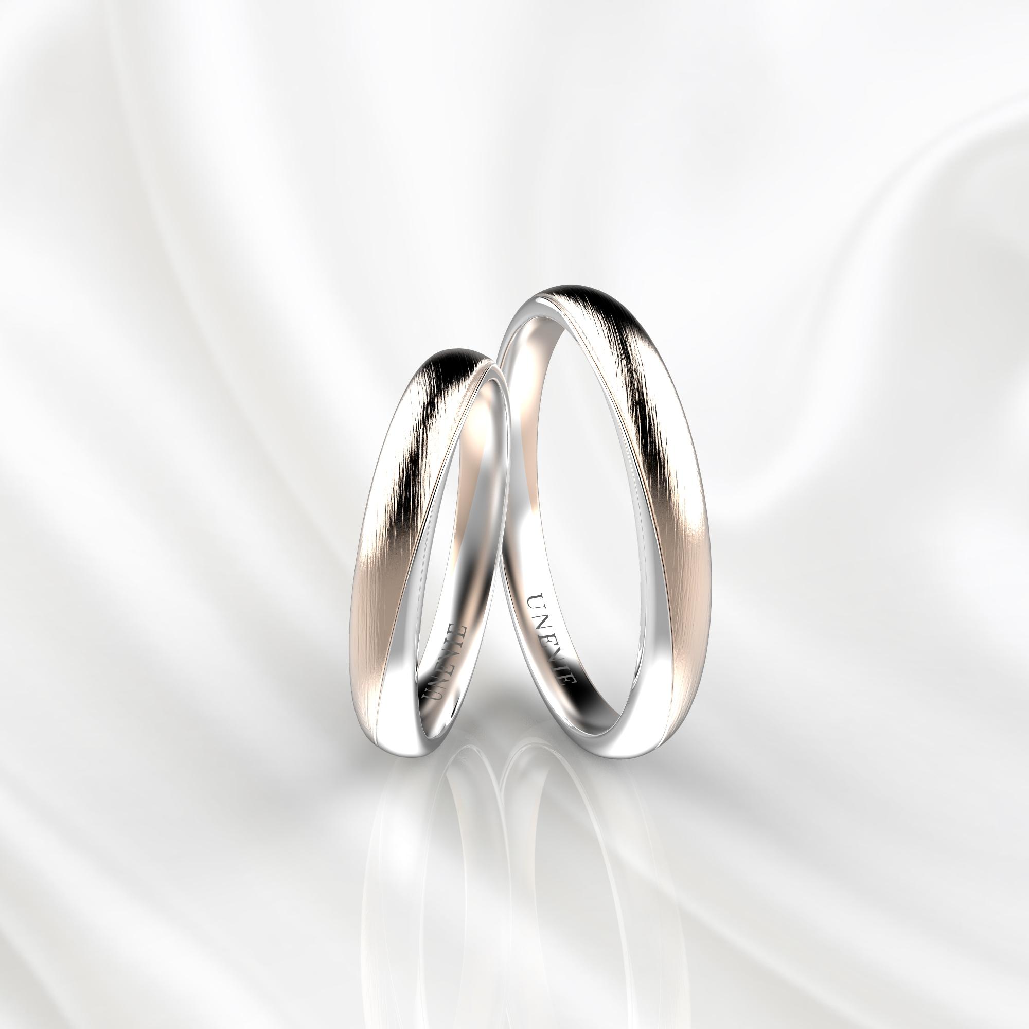 NV83 Парные обручальные кольца из розово-белого золота