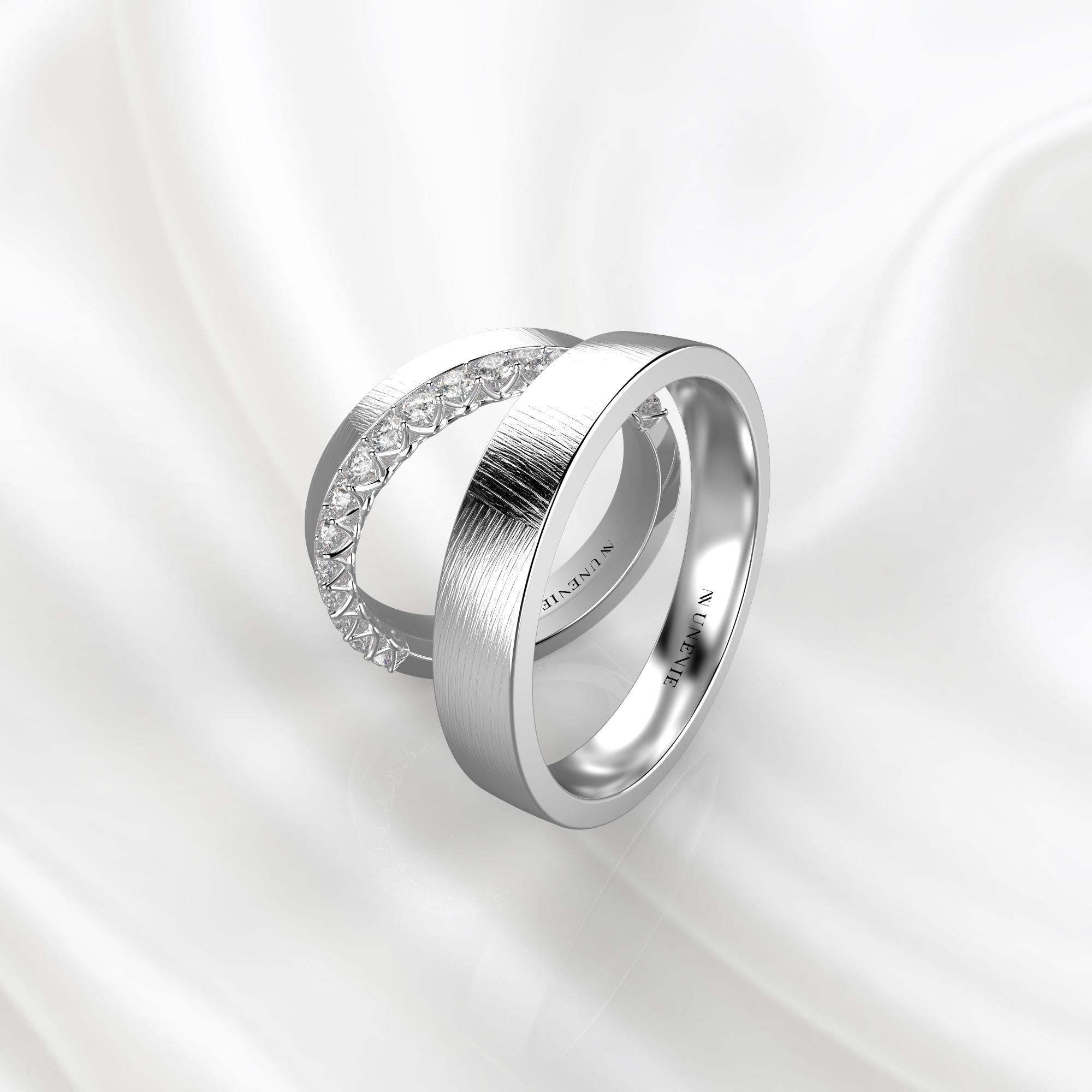 NV84 Парные обручальные кольца из белого золота с бриллиантами