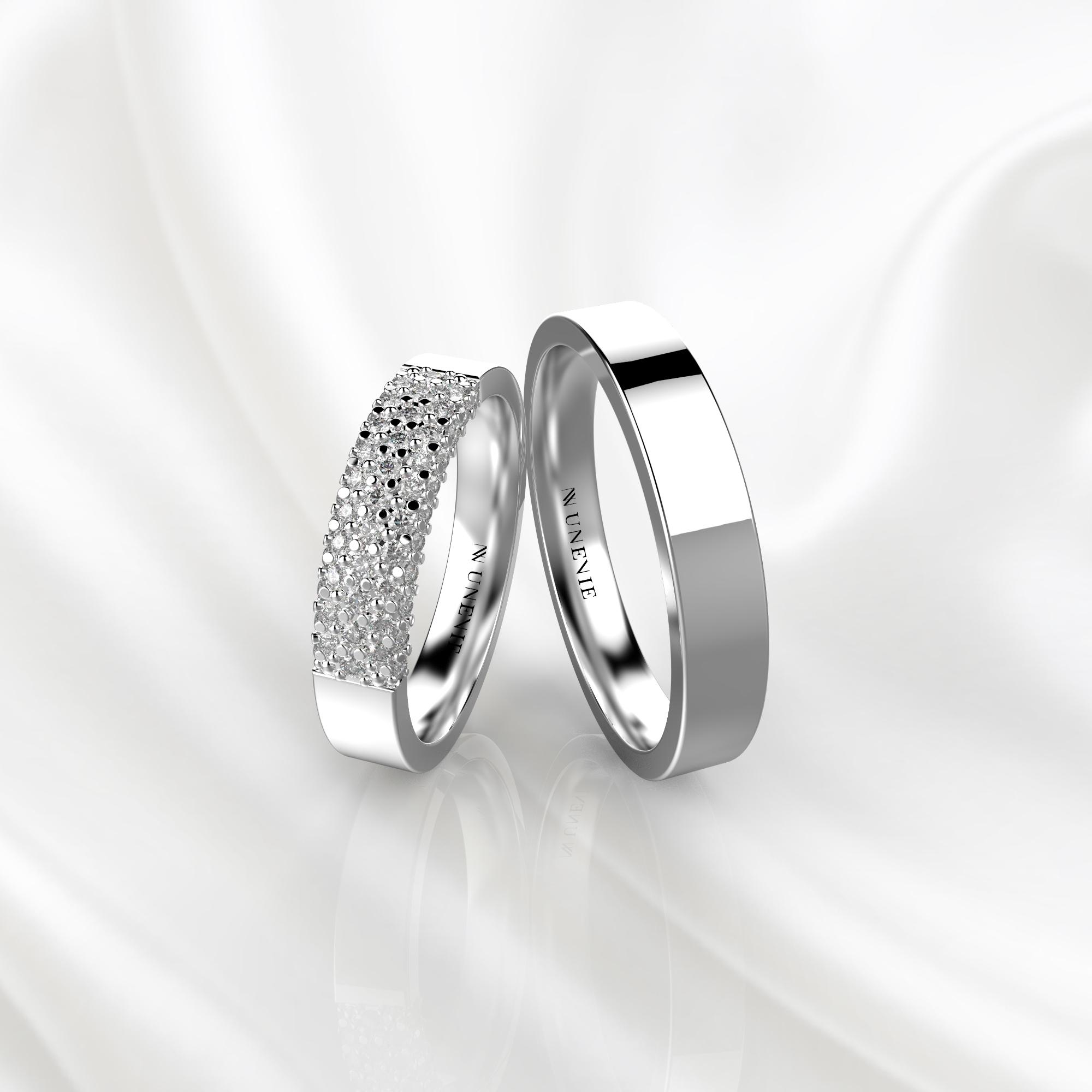NV85 Парные обручальные кольца из белого золота с бриллиантами