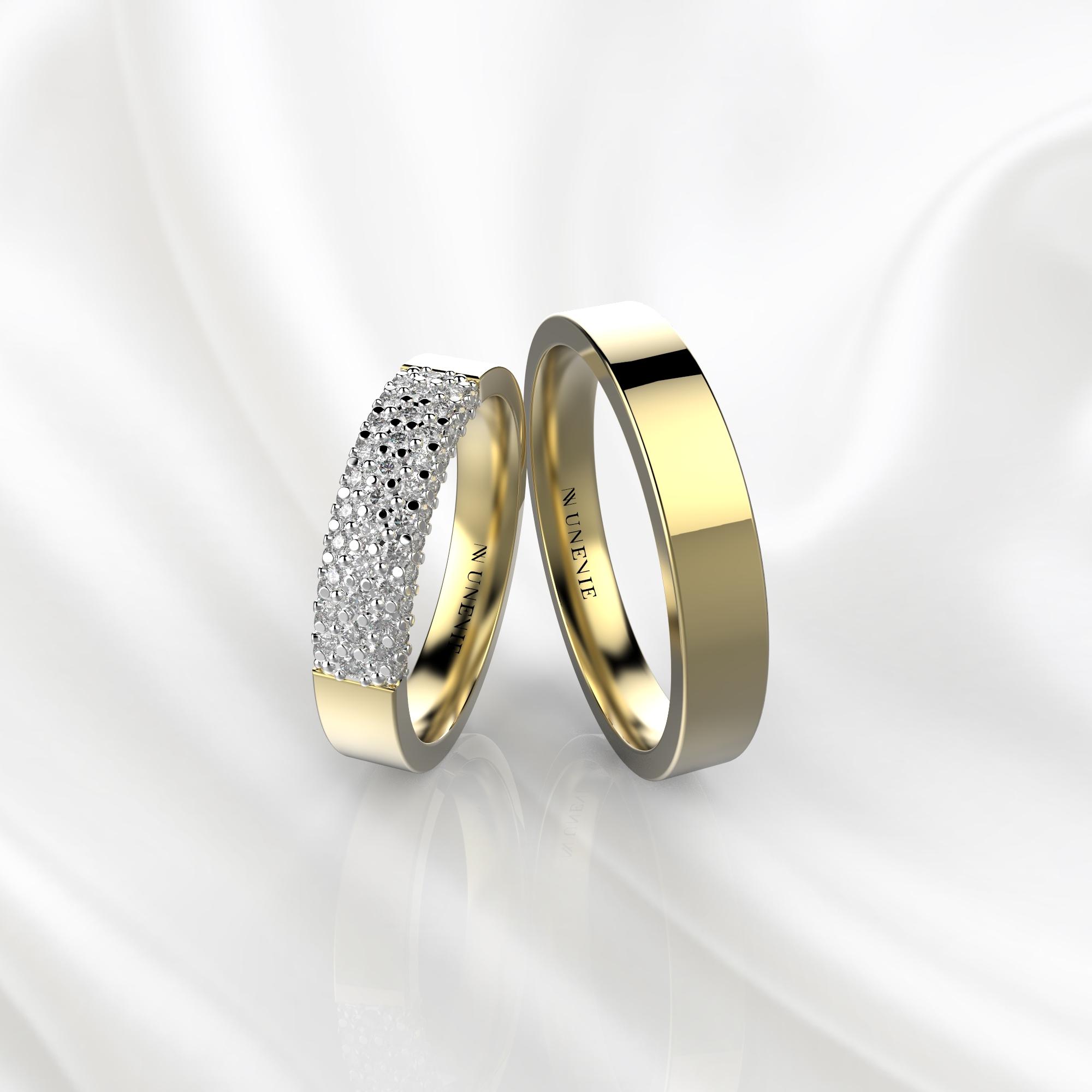 NV85 Парные обручальные кольца из желто-белого золота с бриллиантами
