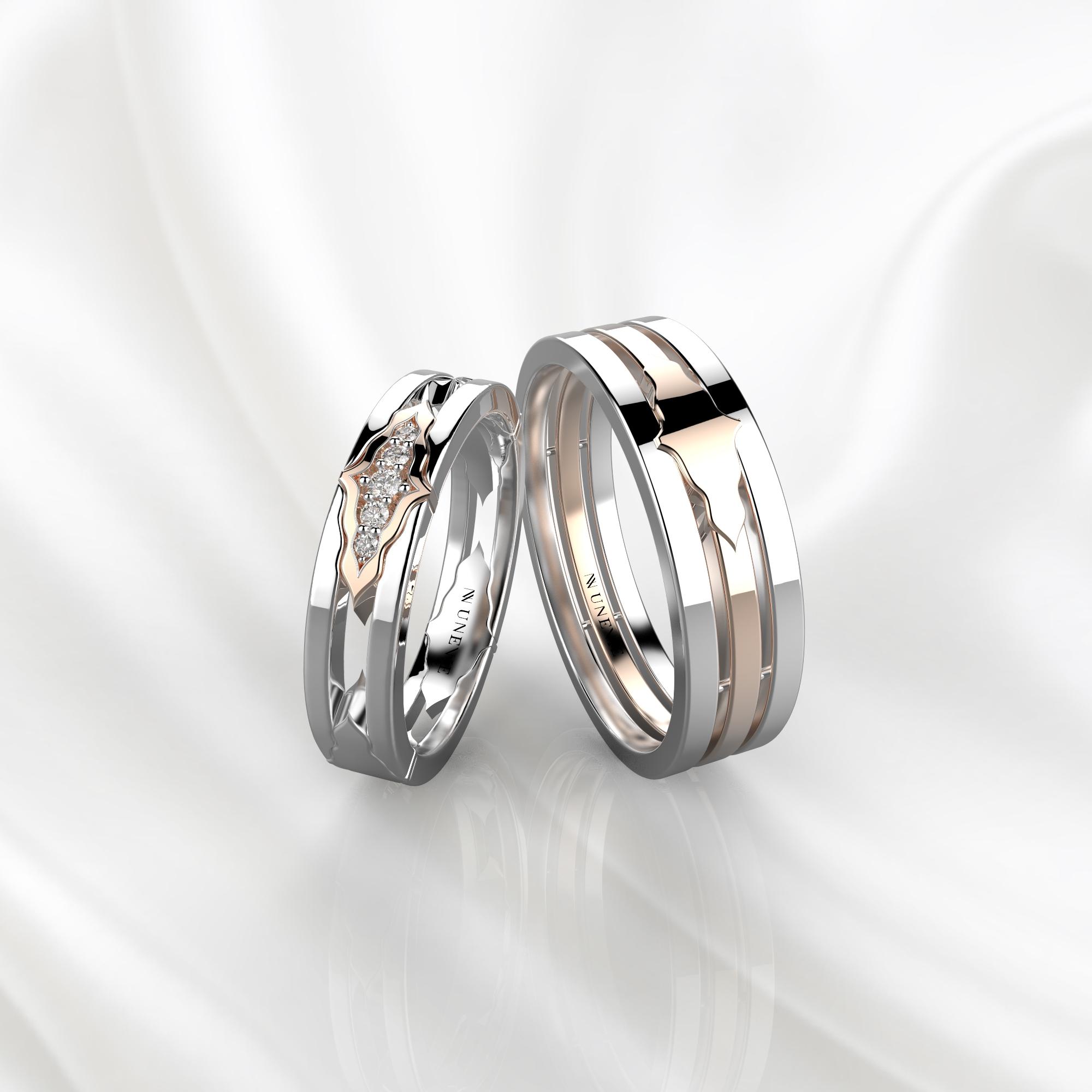 Парные обручальные кольца из бело-розового золота с 5 бриллиантами