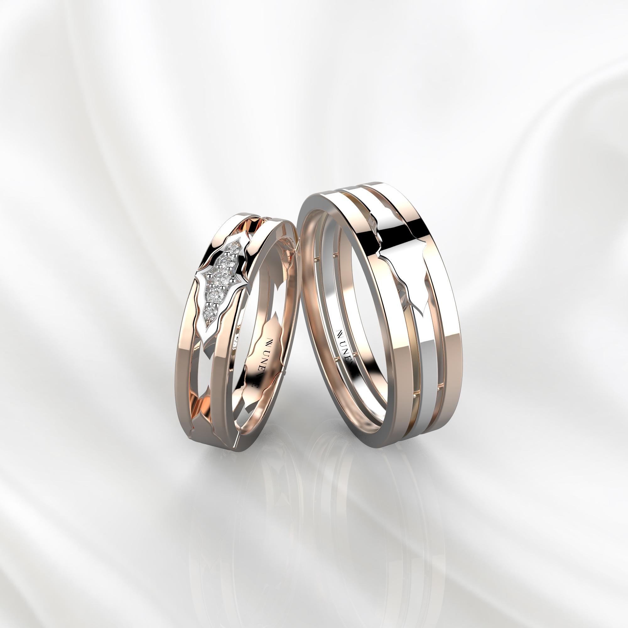 Парные обручальные кольца из желто-розового золота с 5 бриллиантами