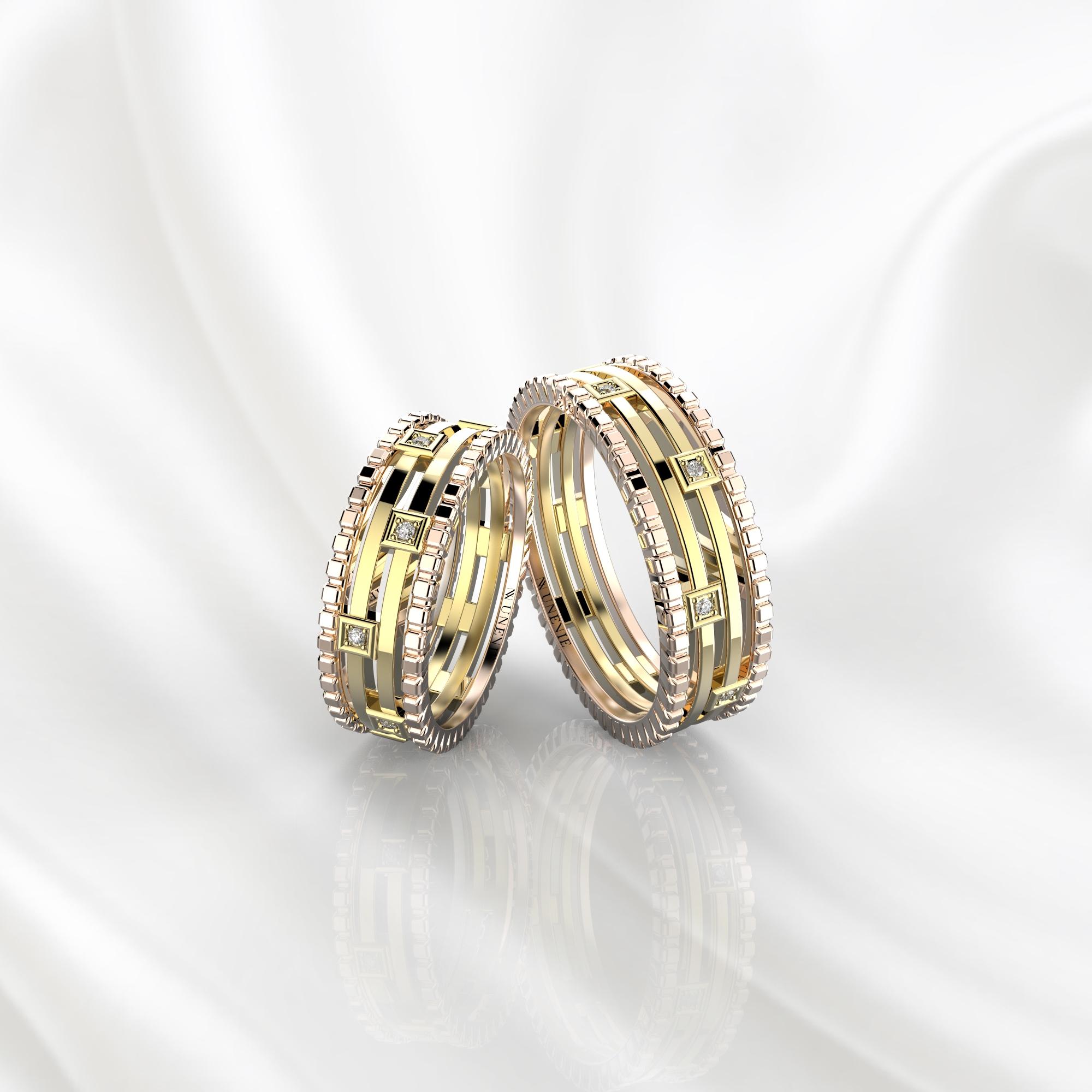 Парные дизайнерские кольца из розово-желтого золота