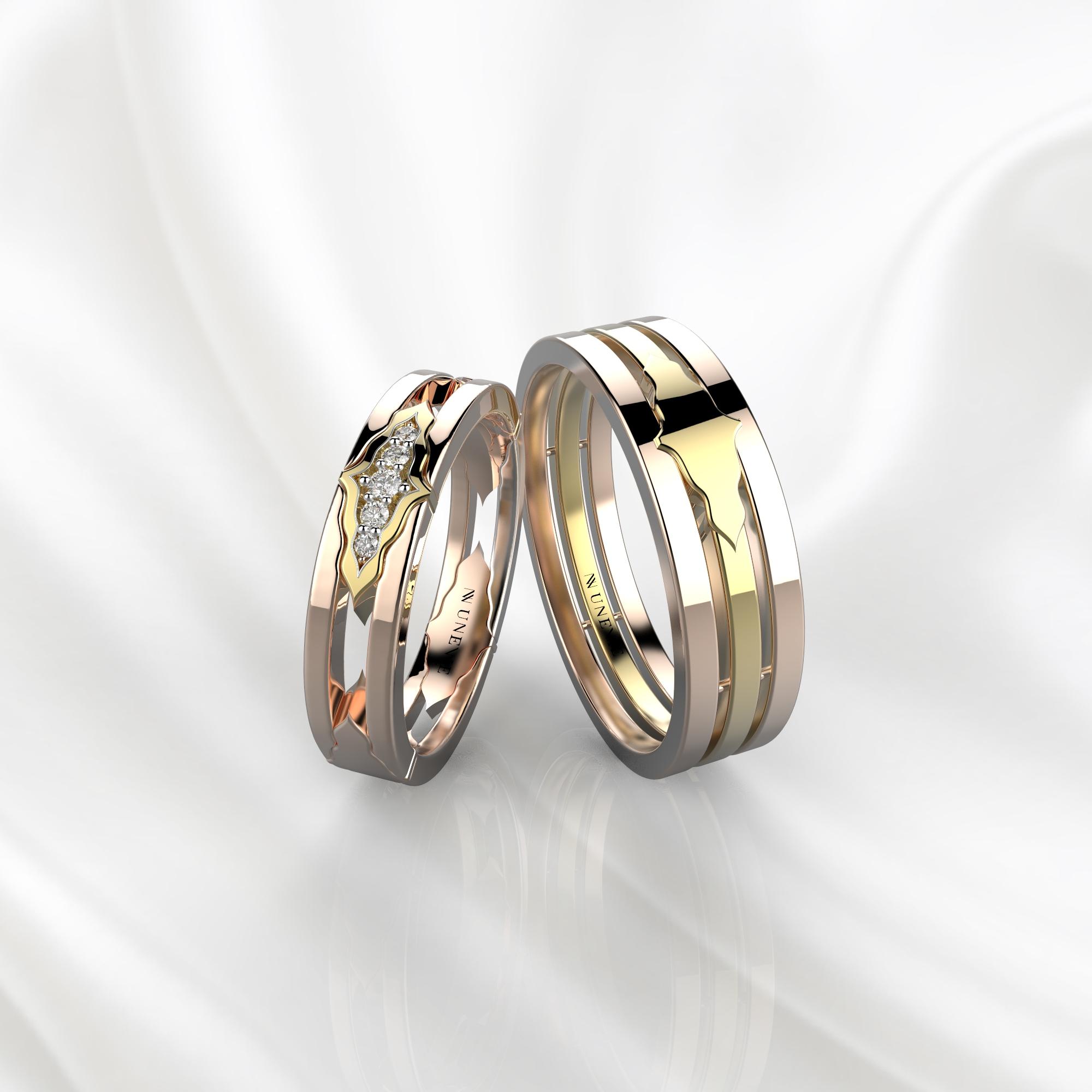 Парные обручальные кольца из розово-желтого золота с 5 бриллиантами