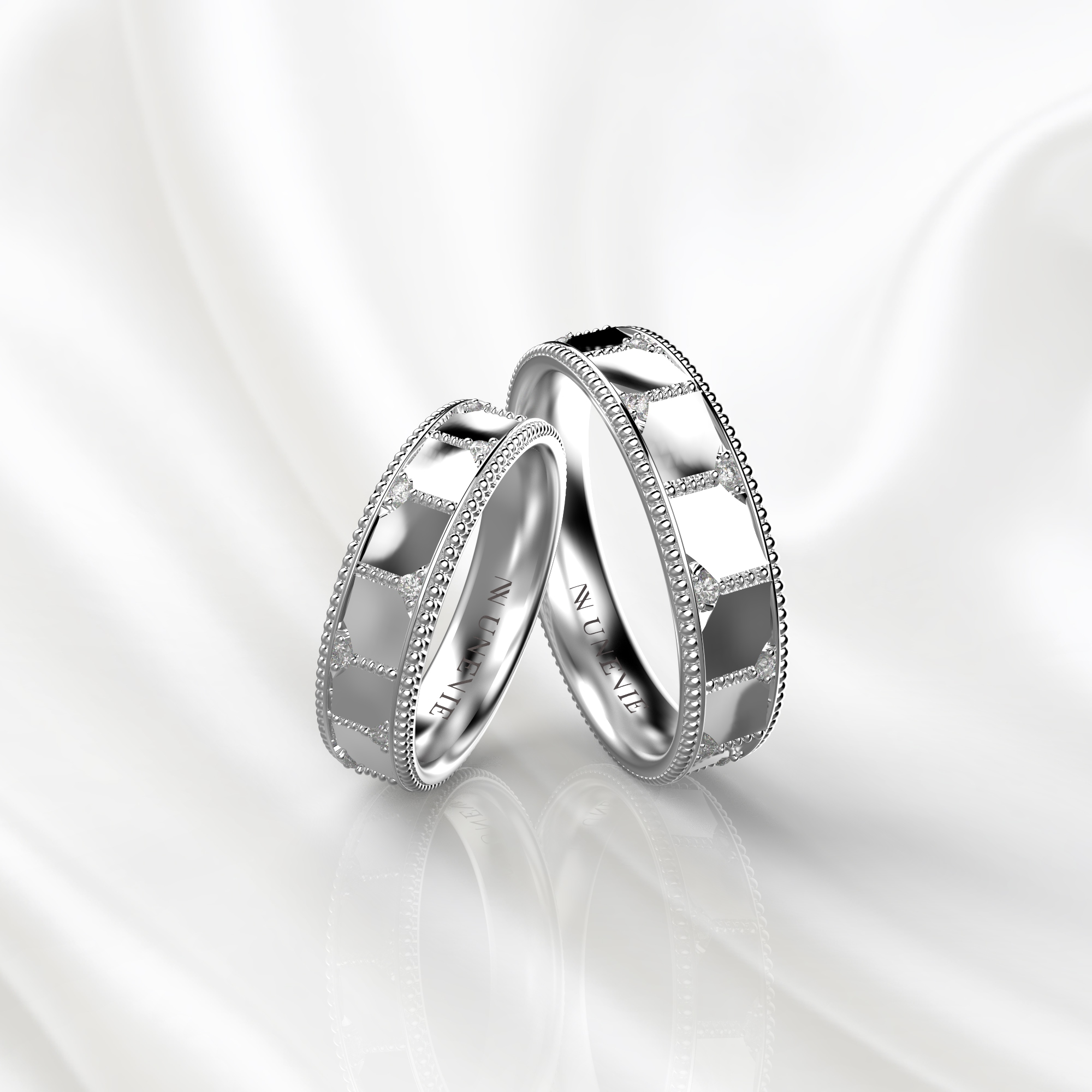 NV77 Парные обручальные кольца из белого золота с бриллиантами