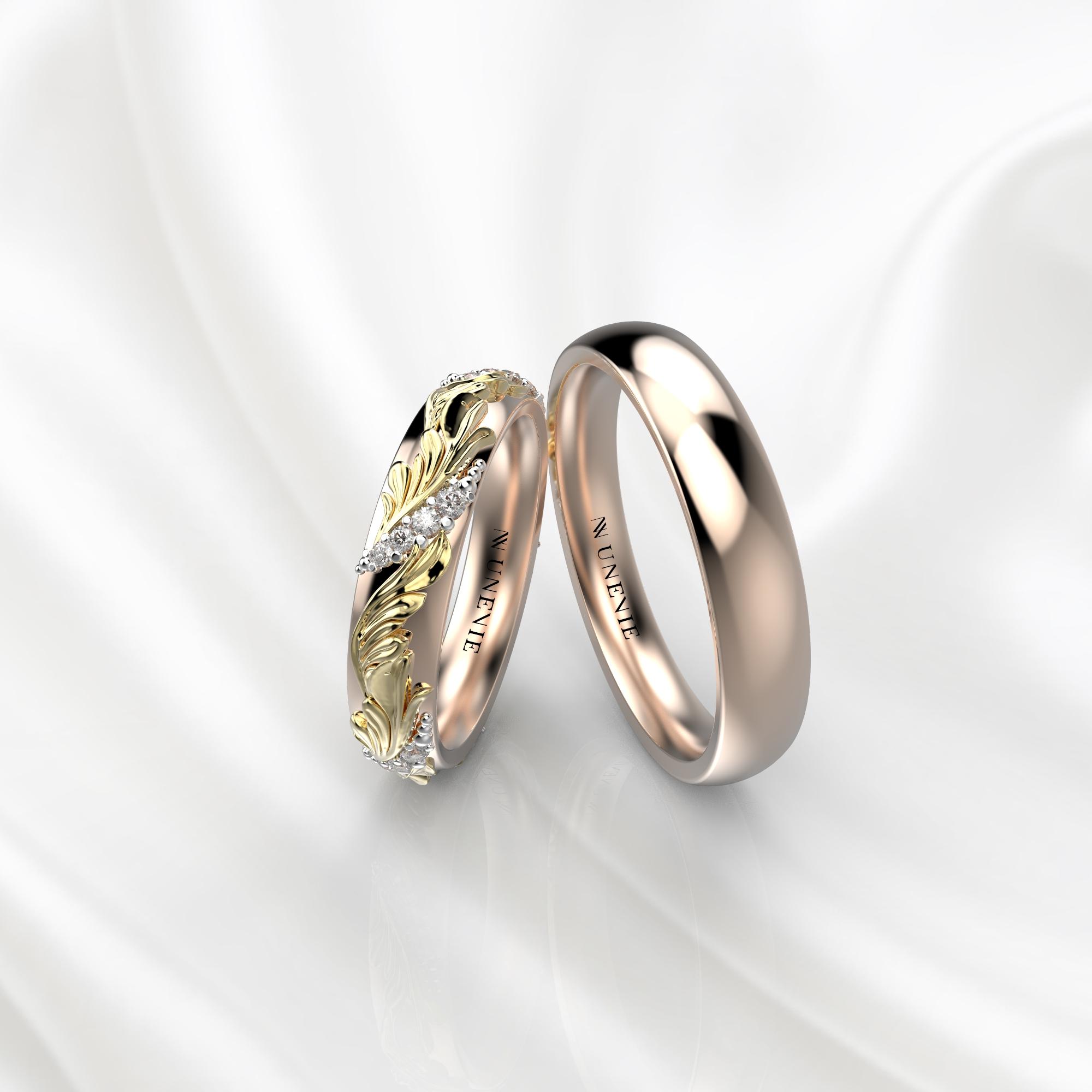Ажурные обручальные кольца с бриллиантами по кругу